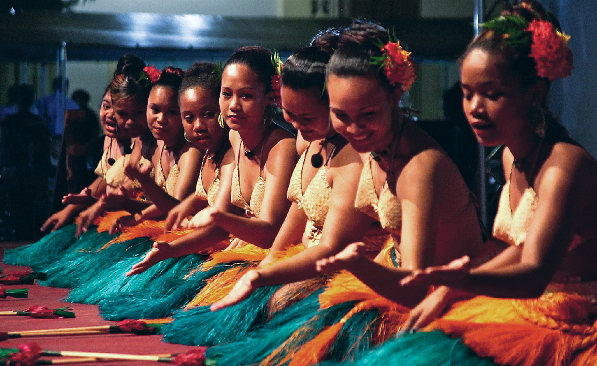 This photo taken on July 29, 2014 shows ...This photo taken on July 29, 2014 shows traditional dancers performing at the opening night of the 45th Pacific Islands Forum in the Palau city of Koror.  Pacific island leaders of the 15 nations represented at the Pacific Islands Forum will renew calls this week for meaningful action on climate change at the regional summit, amid fears rising seas will swamp their low-lying nations.