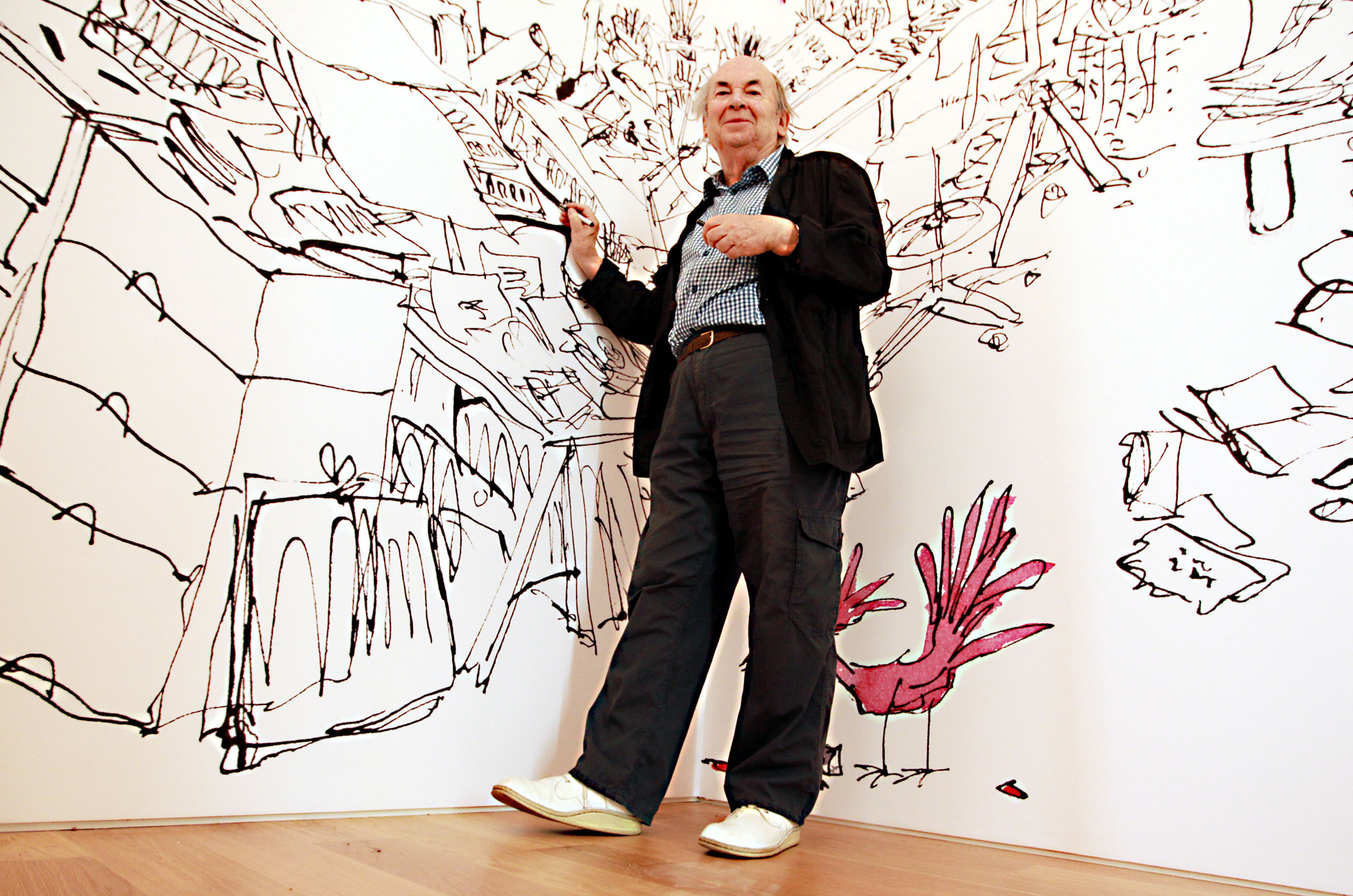 Quentin Blake exhibition - London...Quentin Blake poses with some of his illustrations at the world's first public gallery and education space dedicated to illustration the 'House of Illustration' in the heart of King's Cross, which is to open on 2nd July with a exhibition of Blake's work called Inside Stories. PRESS ASSOCIATION Photo. Picture date: Tuesday July 1, 2014. Photo credit should read: Sean Dempsey/PA Wire