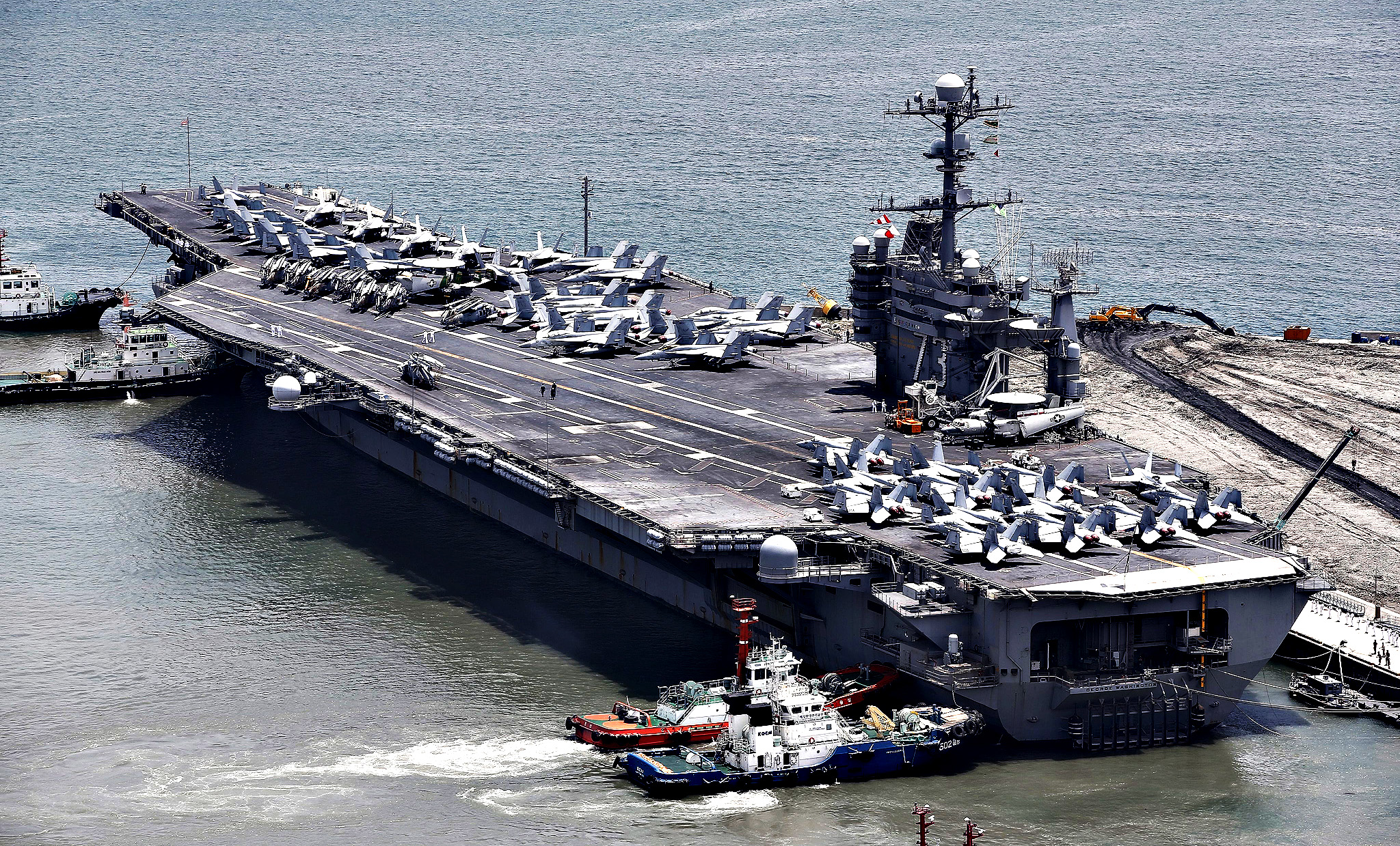A view of the USS George Washington aircraft carrier (CVN-73) in Busan, South Korea, 11 July 2014. USS George Washington arrived in South Korea on 11 July as part of a planned visit.
