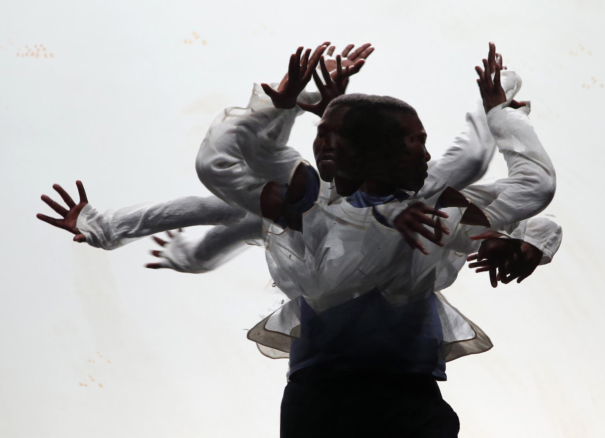 South African dancer Maqoma performs in a dress rehearsal during the Malta Arts Festival in Valletta