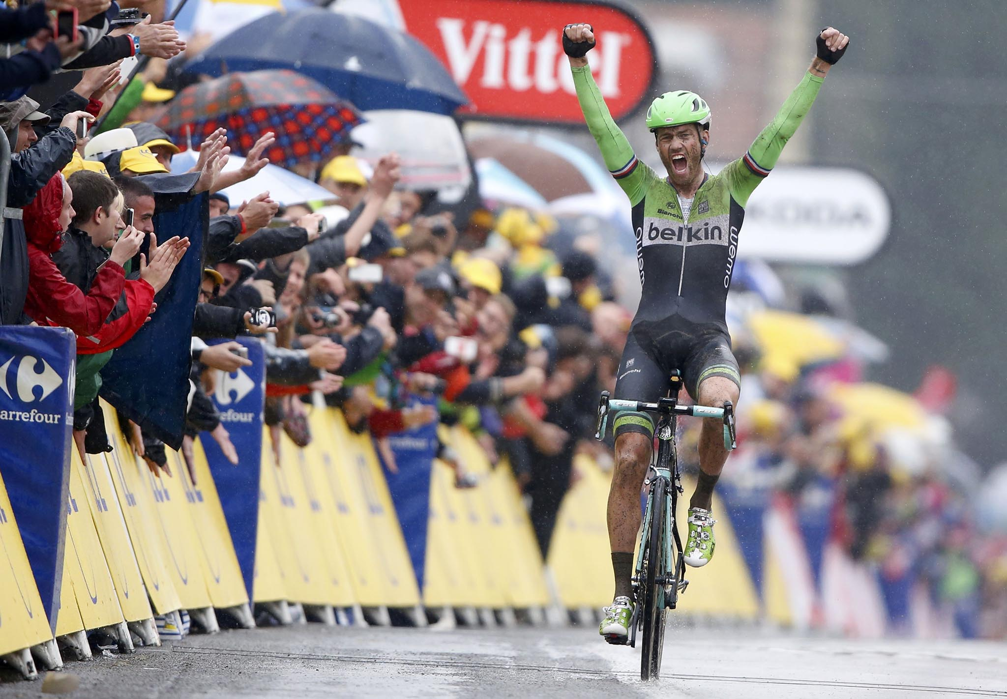 Belkin team rider Lars Boom of the Netherlands celebrates as he wins the 155.5 km fifth stage of the Tour de France cycling race