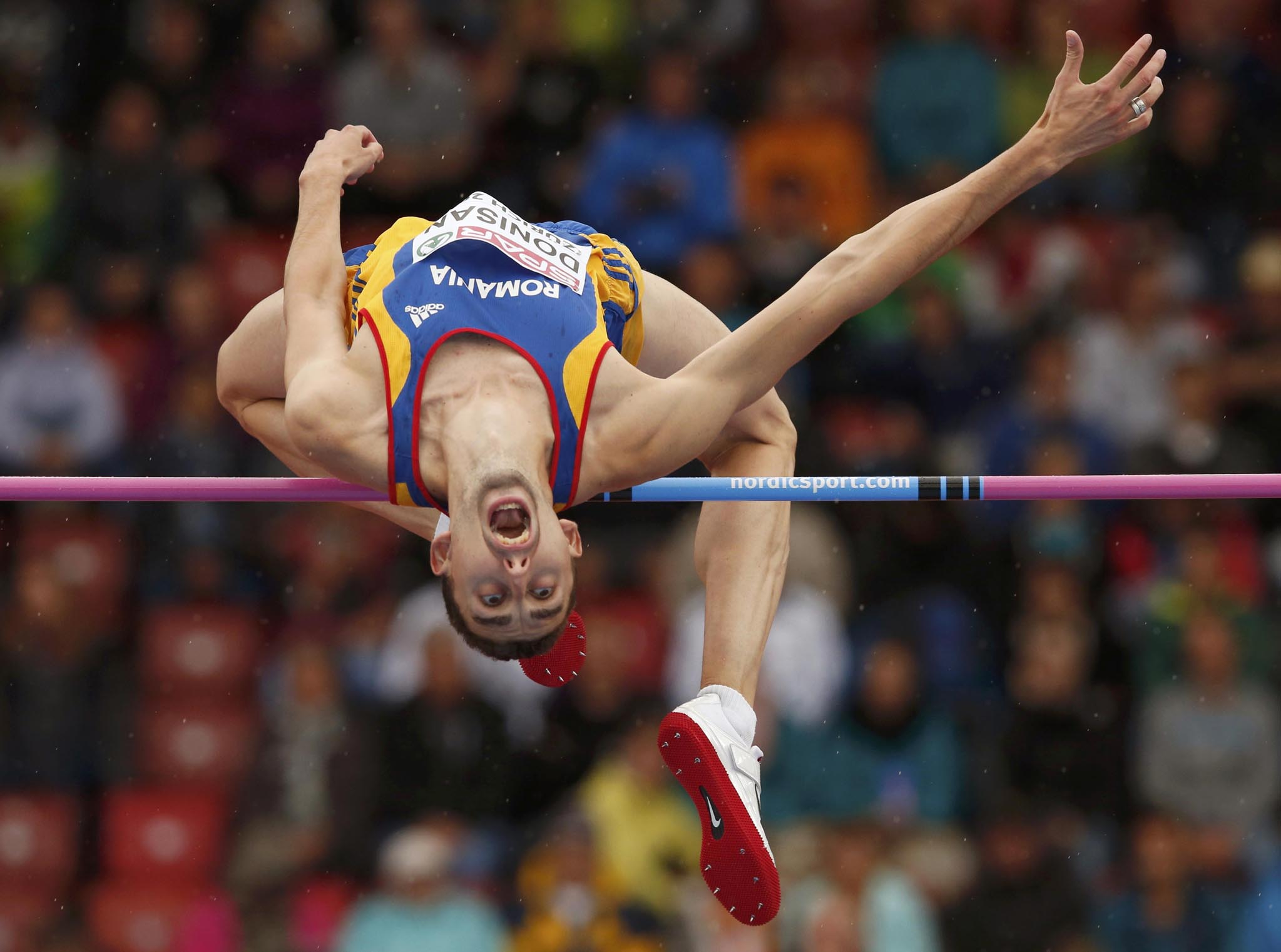 Donisan of Romania competes in men's high jump during European Athletics Championships in Zurich