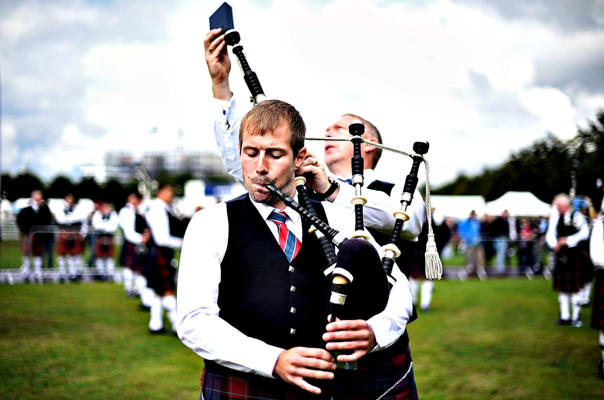 Police Scotland Fife pipe band take part in 2014 World Pipe Band Championships grade one qualifiers at Glasgow Green on August 15, 2014 in Glasgow, Scotland. The annual World Pipe Band Championships has returned to Glasgow this weekend, with a programme that will have 300 performances from 223 pipe bands competing for the title.