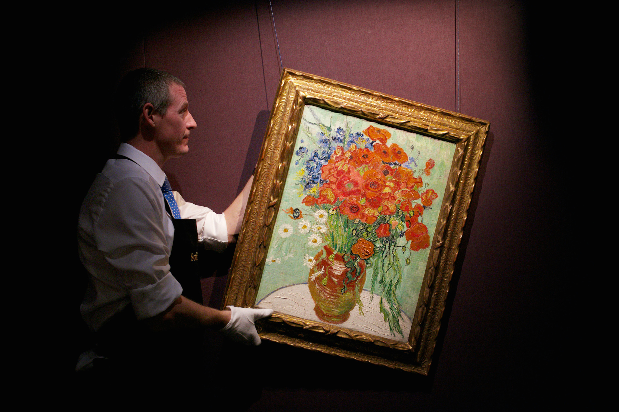 "Still life, Vase with Daisies and Poppies Painted on June 16-17, 1890. Itís the most significant painting by Van Gogh to appear on the market in decades.  Photographed at Sotheby""s 25/9/14"