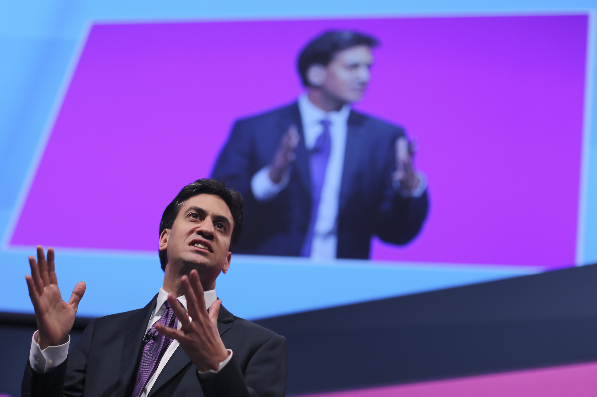 Ed Miliband invites Labour members of the No campaign in the Scottish referendum on stage for a photocall at the Labour party conference in Manchester today.