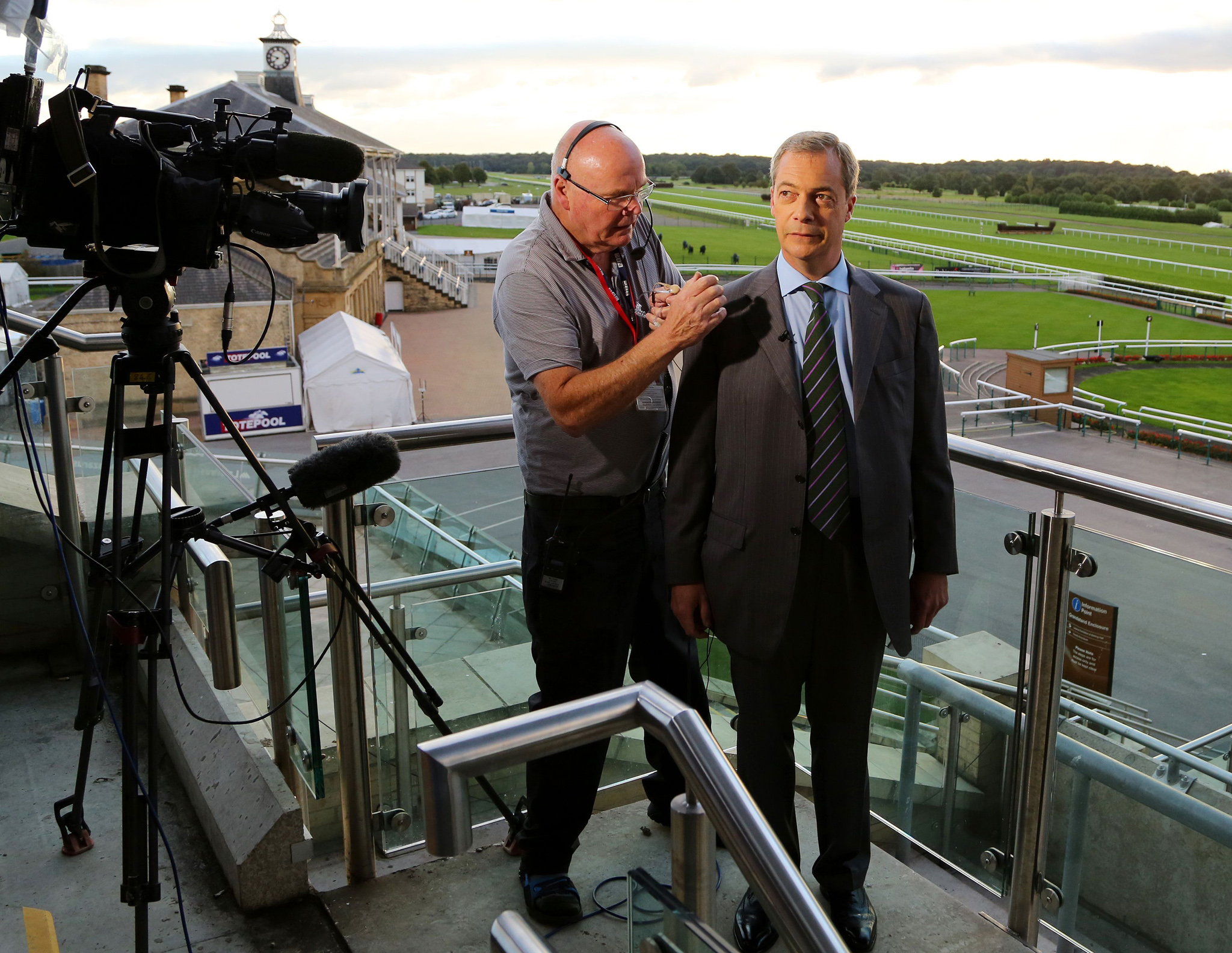 Ukip leader Nigel Farage during morning media interviews ahead of the Ukip annual conference at Doncaster racecourse in South Yorkshire. PRESS ASSOCIATION Photo. Picture date: Friday September 26, 2014. See PA story POLITICS Ukip. Photo credit should read: Gareth Fuller/PA Wire
