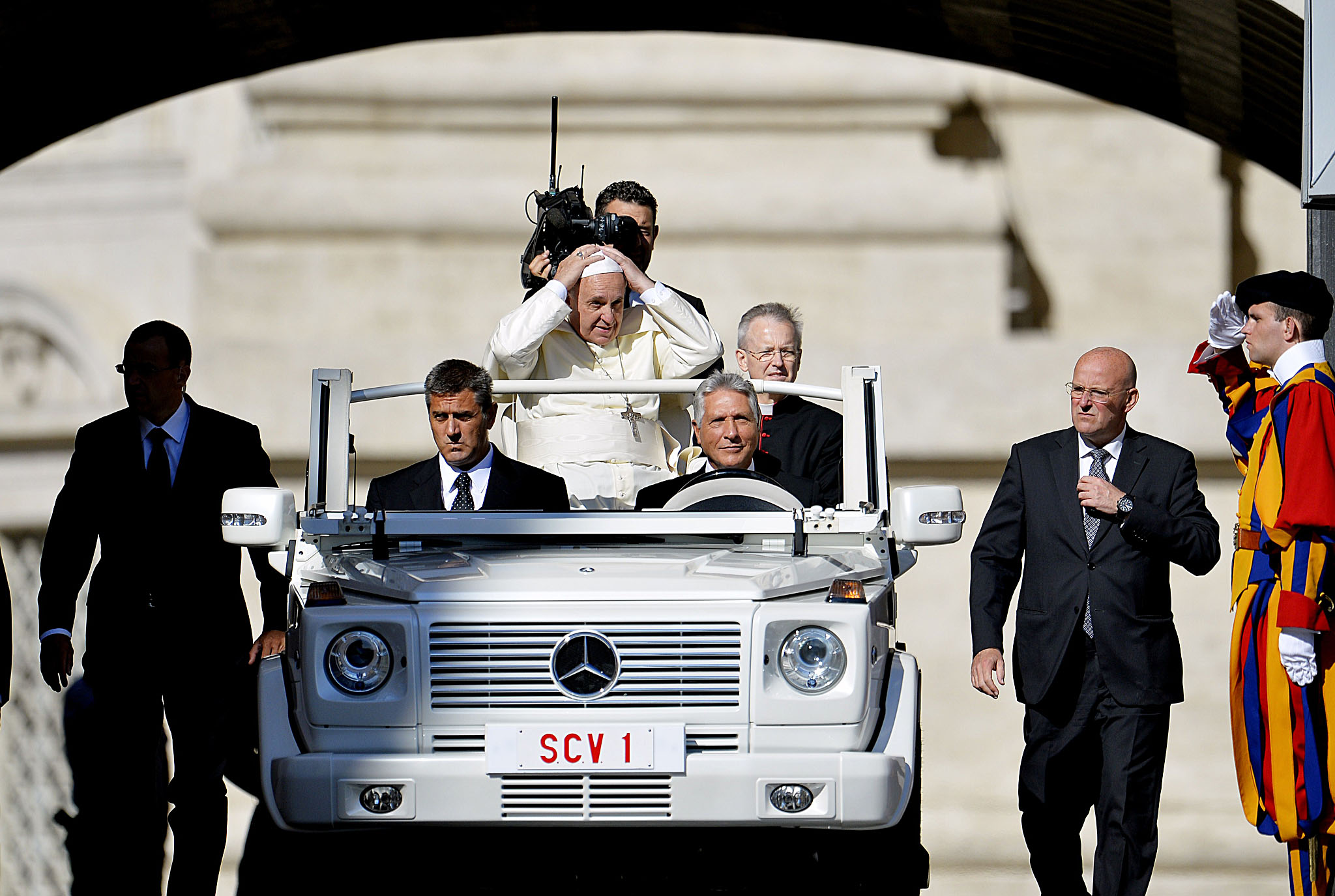 Pope Francis arrives for his weekly gene...Pope Francis arrives for his weekly general audience in St Peter's square at the Vatican on September 3, 2014.
