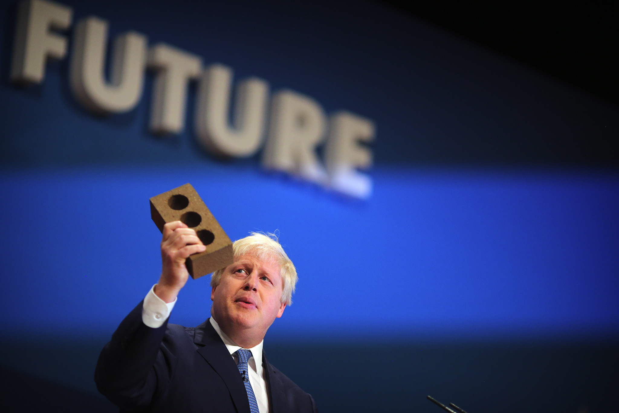 Boris Johnson, London Mayor, delivers his speech at the Conservative party conference in Birmingham.