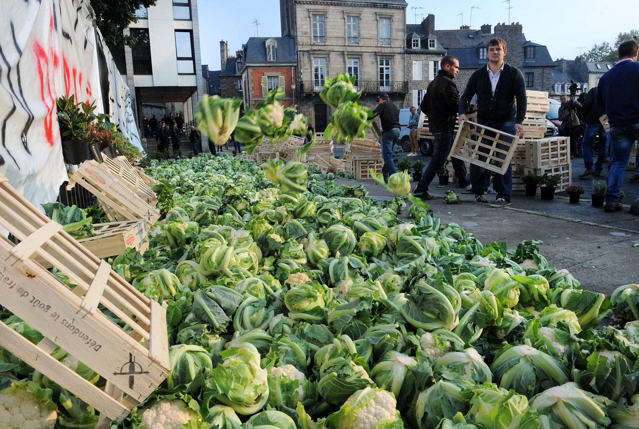 Angry farmers dump cauliflowers in front of the prefecture building of Saint-Brieuc, northwestern France, as riot policemen onwatch, on September 24, 2014, as part of a protest against falling prices and revenues, as the vegetable sector is being hit by a drop in prices, and by a Russian embargo on Western products due to the crisis in Ukraine.  AFP PHOTO / FRED TANNEAU