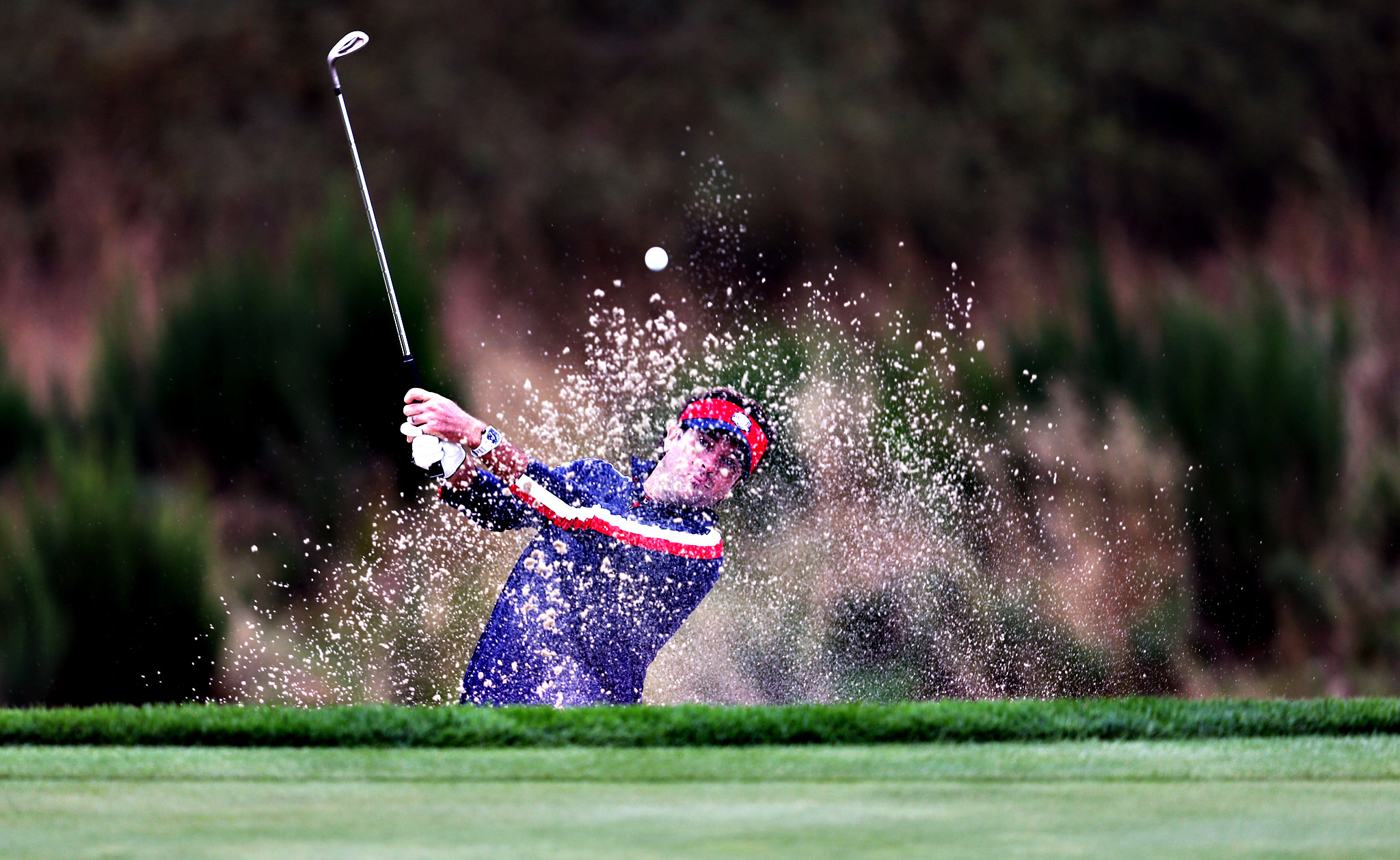 USA's Bubba Watson plays out of a bunker during a practice session at Gleneagles Golf Course, Perthshire.
