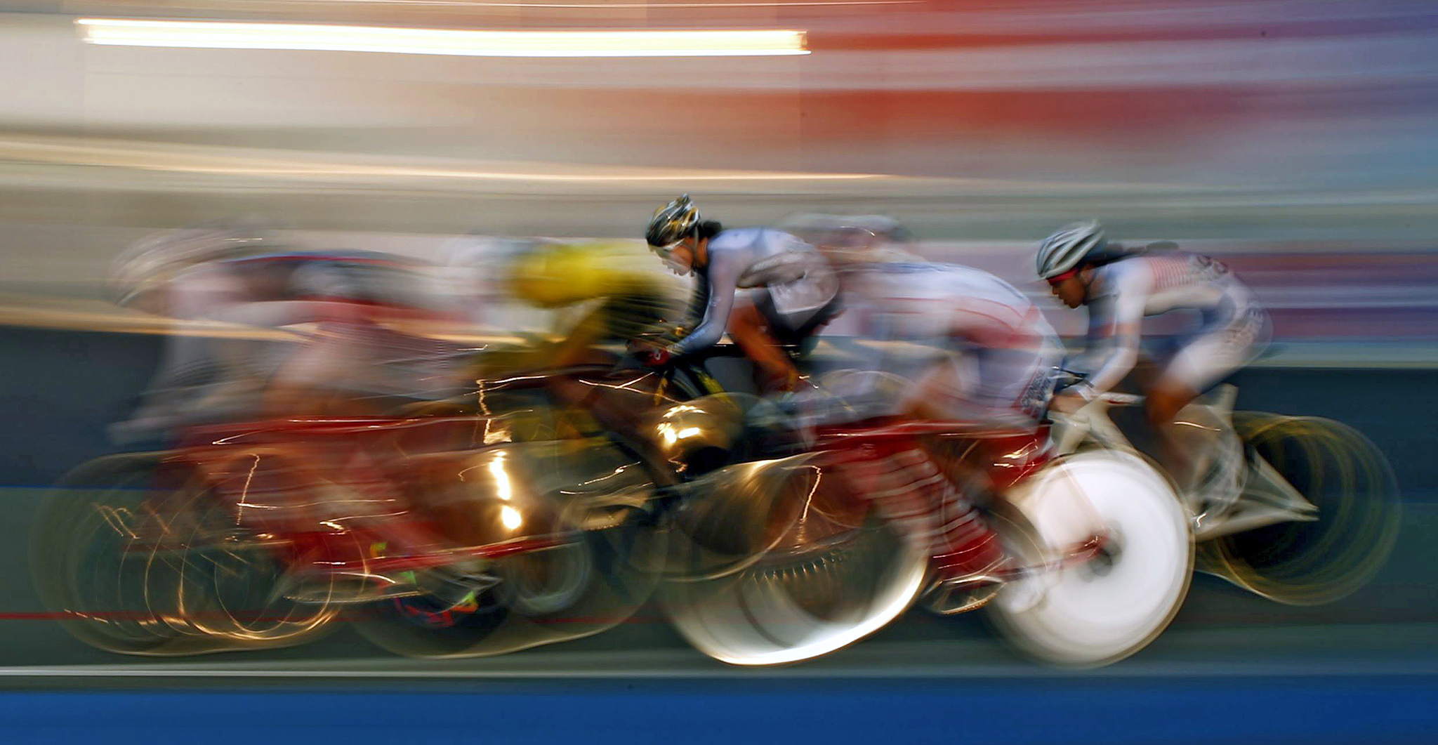 Pack races in the track cycling women's omnium 25km point race at the Incheon International Velodrome during the 17th Asian Games