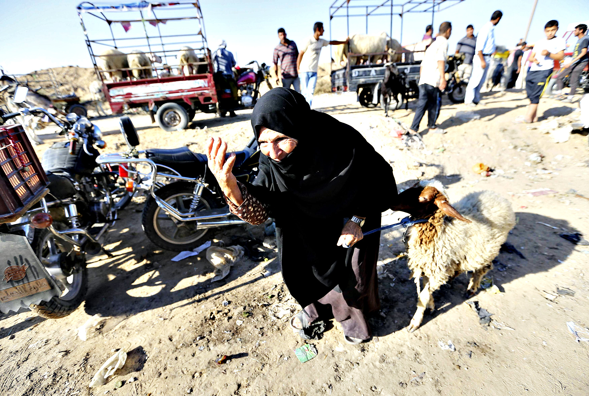 A Palestinian vendor gestures as she displays sheep for customers at a livestock market ahead of Eid-al-Adha in Khan Younis in the southern Gaza Strip September 30, 2014.
