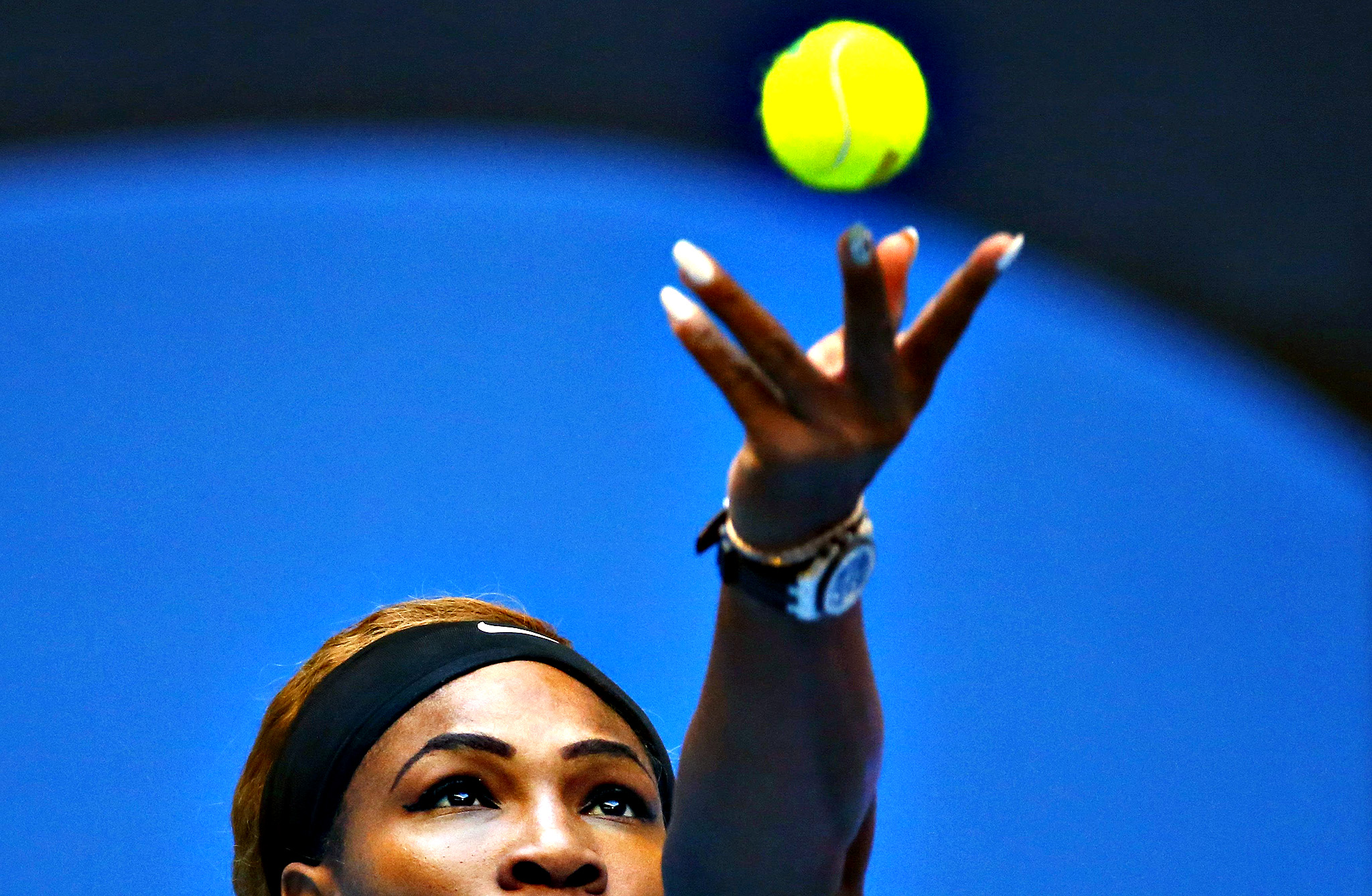 Serena Williams of the U.S. serves during her women's singles match against Silvia Soler-Espinosa of Spain at the China Open tennis tournament in Beijing...Serena Williams of the U.S. serves during her women's singles match against Silvia Soler-Espinosa of Spain at the China Open tennis tournament in Beijing September 29, 2014.