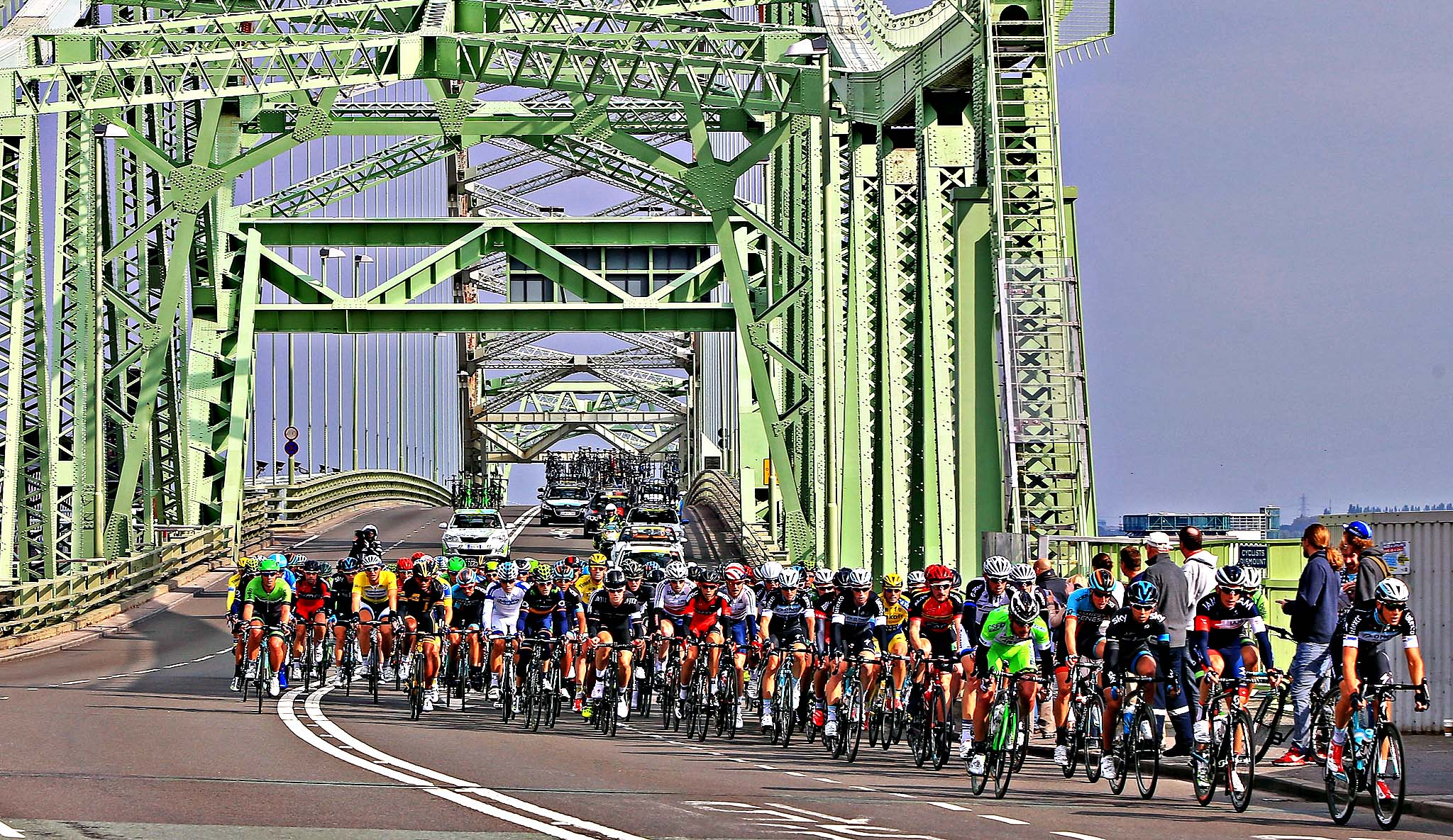 The Peloton crosses Runcorn Bridge during the stage two of the 2014 Tour of Britain.