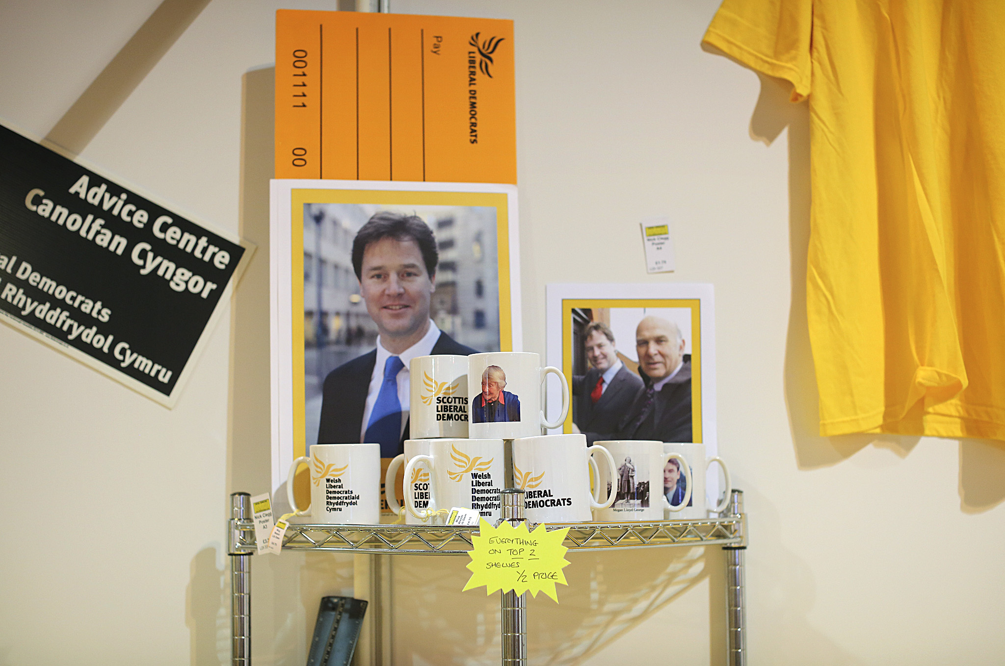 Delegates browse the Liberal Democrat merchandise stand at the Liberal Democrat conference in Glasgow this morning.