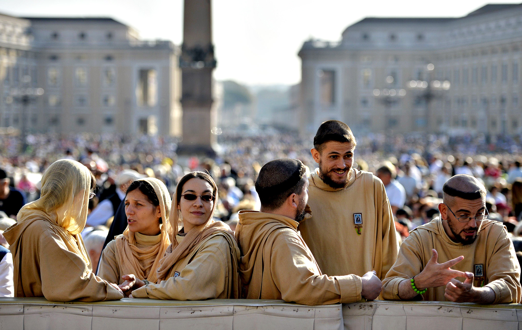 Franciscan wait for the arrival of Pope Francis before his general audience at St Peter's square on October 8, 2014 at the Vatican.