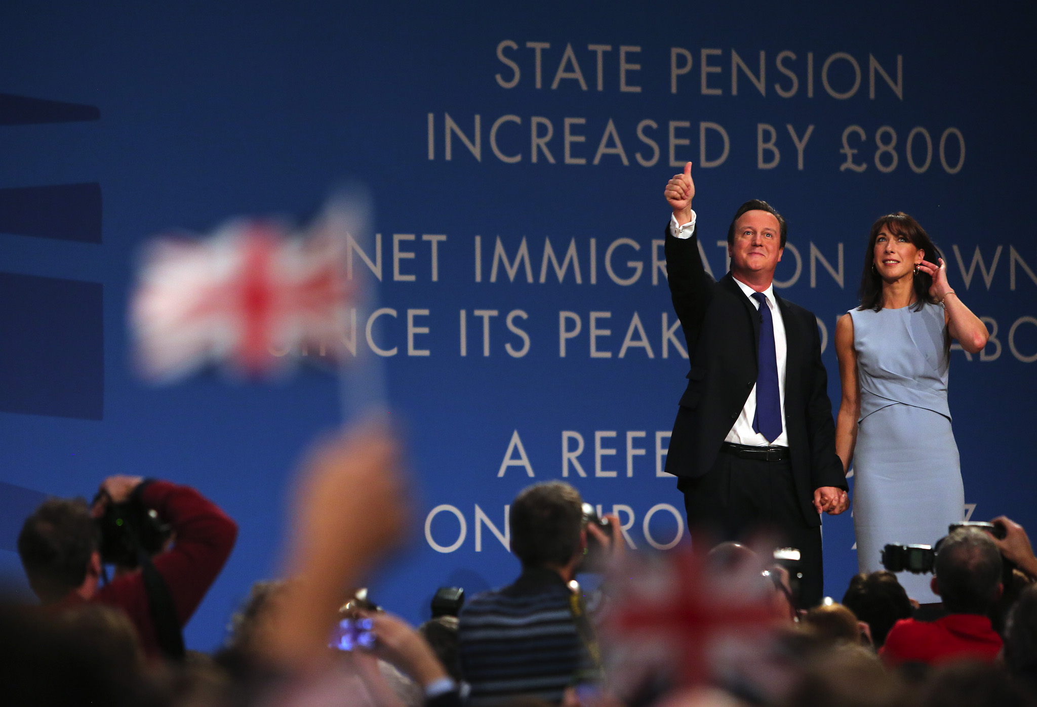 British Prime Minster, David Cameron, with his wife Samantha, following his closing speech at the Conservative party conference in Birmingham.