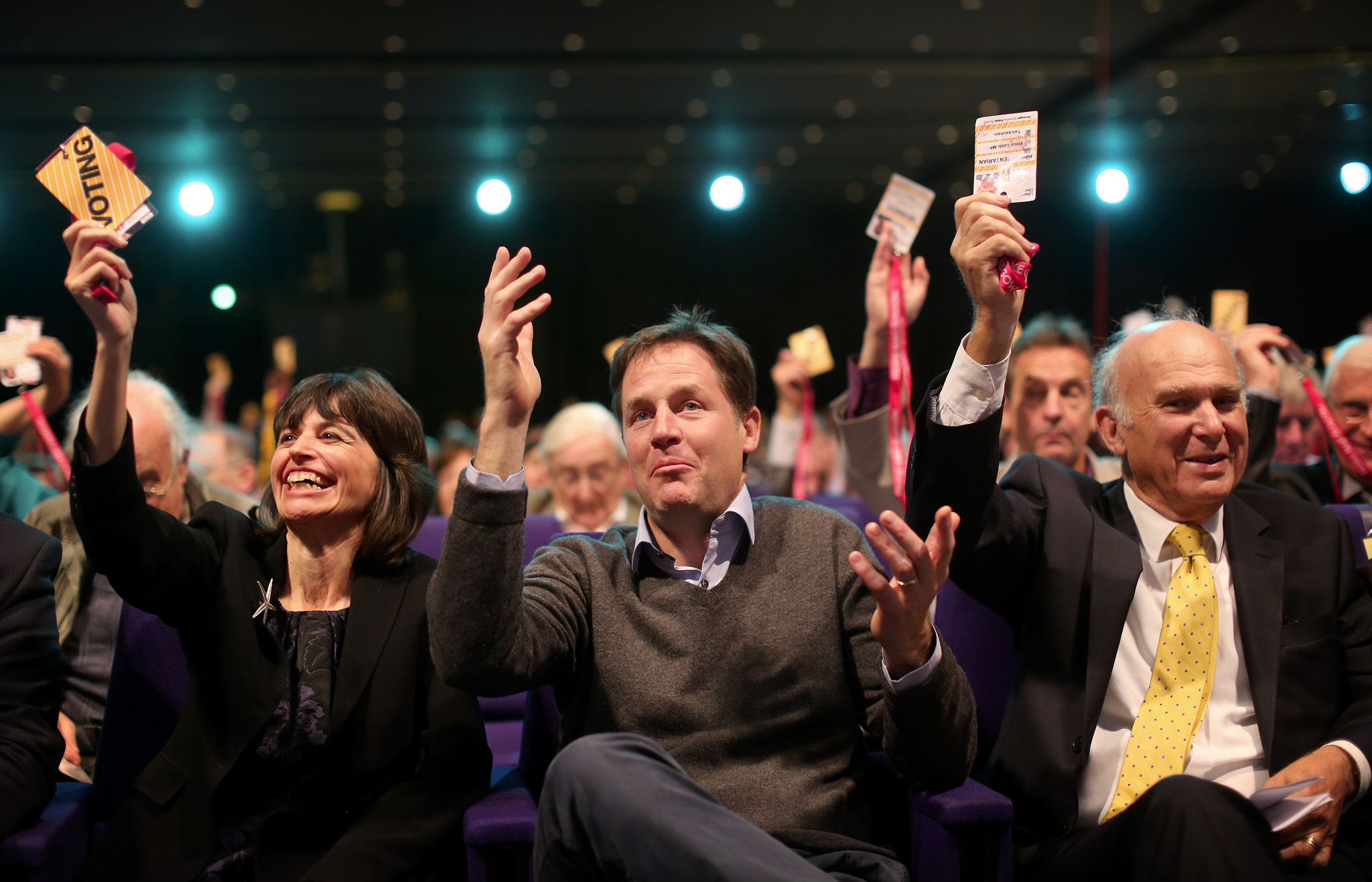 Leader of the Liberal Democrats, Nick Clegg with Business Secretary, Vince Cable in the audience prior to Vince  Cable making his keynote speech at the Liberal Democrat party conference in Glasgow.