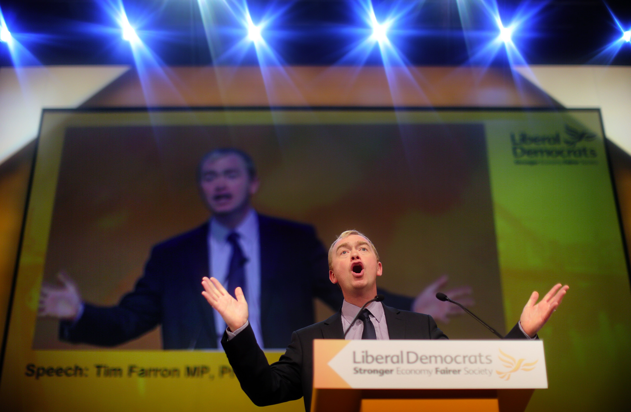 Outgoing party president, Tim Farron MP, speaks at the Liberal Democrat conference in Glasgow.
