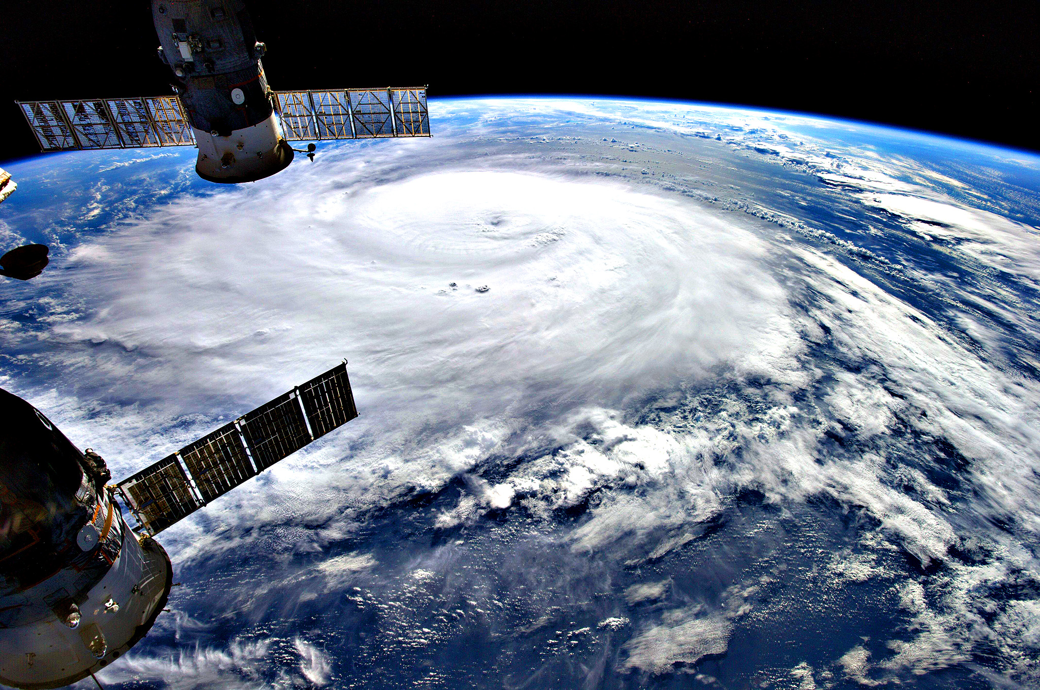 Hurricane Gonzalo was taken from the International Space Station by European Space Agency astronaut Alexander Gerst.  The resort island chain of Bermuda braced October 17, 2014 for a hit from Hurricane Gonzalo, forecast to produce flooding, strong winds and a life-threatening storm surge. The capital Hamilton was eerily quiet as people retreated to the safety of their homes. Schools, businesses, grocery stores and government offices all closed early Thursday, and many people boarded up the windows of their homes and placed sandbags outside in preparation. As of early Friday, Gonzalo's winds were whirling at 125 miles (200 kilometers) per hour, with even stronger gusts, the US National Hurricane Center said. Gonzalo has already killed one person in the Caribbean and triggered a hurricane warning for the British overseas territory, which is home to around 60,000 people.