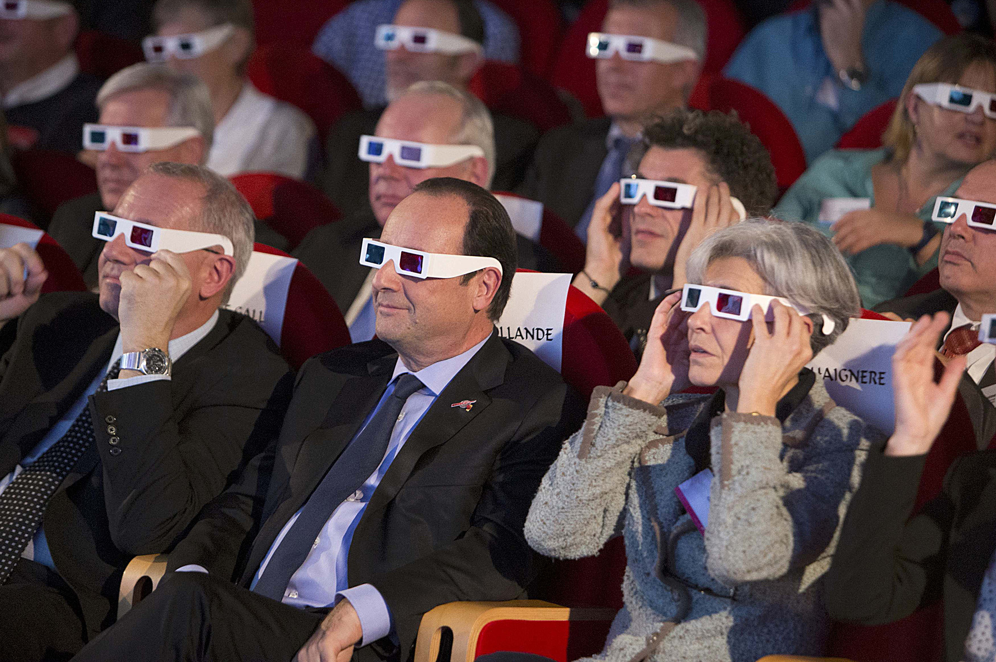 "rench National Centre for Space Studies (CNES) president Jean-Yves Le Gall (L), French President Francois Hollande (C) and former French astronaut Claudie Haignere wear 3D glasses during a visit at the Cite des Sciences at La Villette in Paris as they follow the successful landing of the Philae lander on comet 67P/ Churyumov-Gerasimenko. REUTERS/Jacques Brinon/Pool    REUTERS NEWS PICTURES HAS NOW MADE IT EASIER TO FIND THE BEST PHOTOS FROM THE MOST IMPORTANT STORIES AND TOP STANDALONES EACH DAY. Search for ""TPX"" in the IPTC Supplemental Category field or ""IMAGES OF THE DAY"" in the Caption field and you will find a selection of 80-100 of our daily Top Pictures."