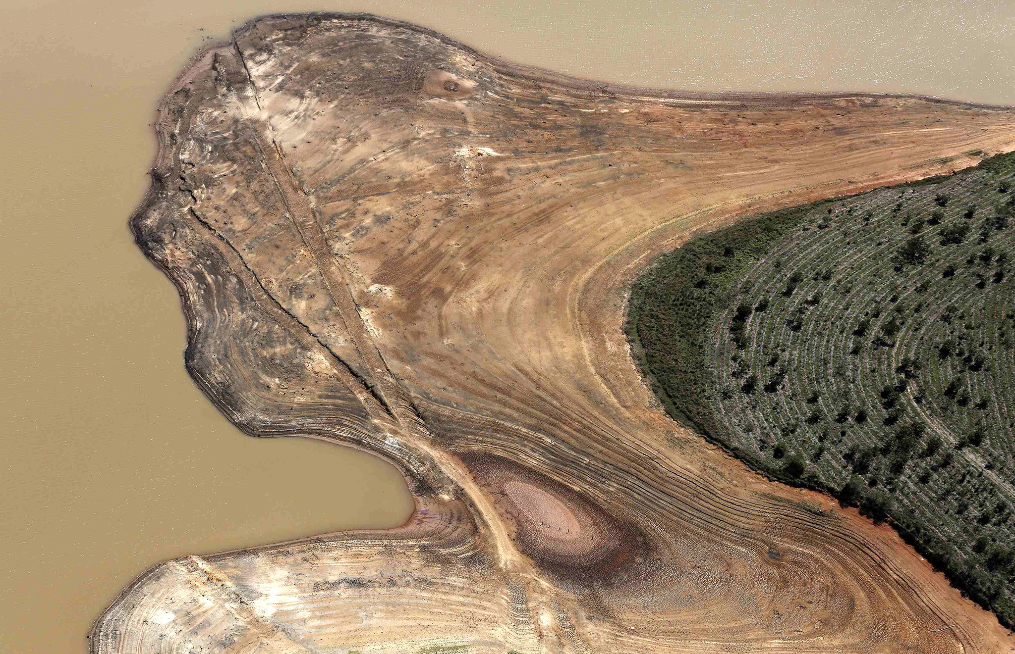 Aerial view of the Atibainha dam, part of the Cantareira reservoir, during a drought in Braganca Paulista, Sao Paulo state