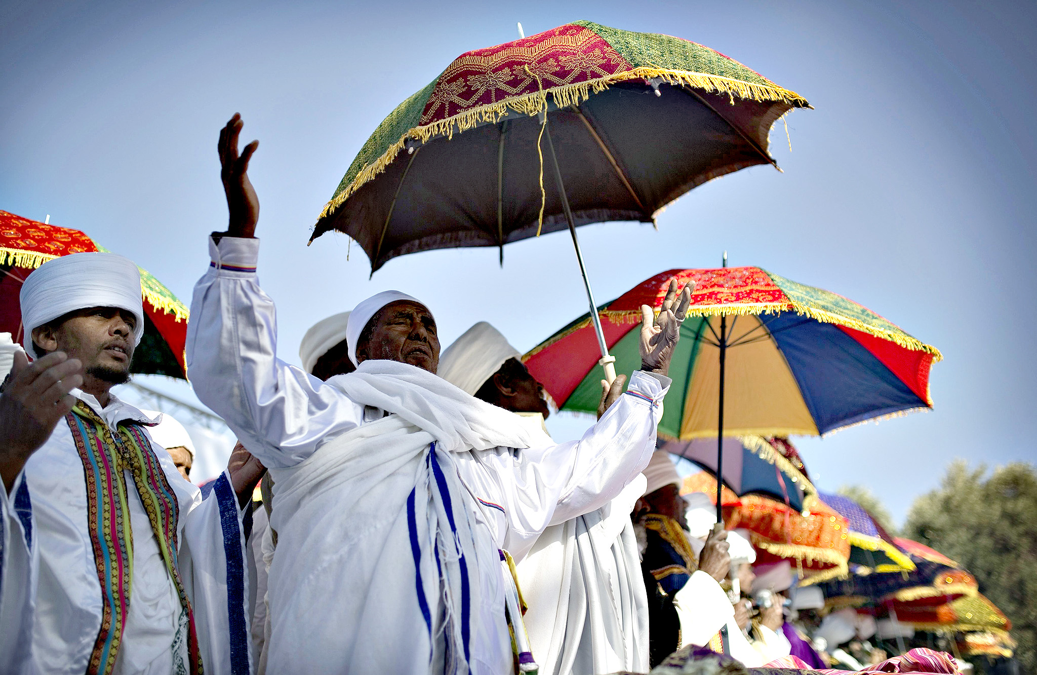 Members of the Ethiopian Jewish community in Israel pray during a ceremony marking the holiday of Sigd in Jerusalem November 20, 2014. Sigd marks the community's longing to return to Jerusalem, where they see their biblical roots.