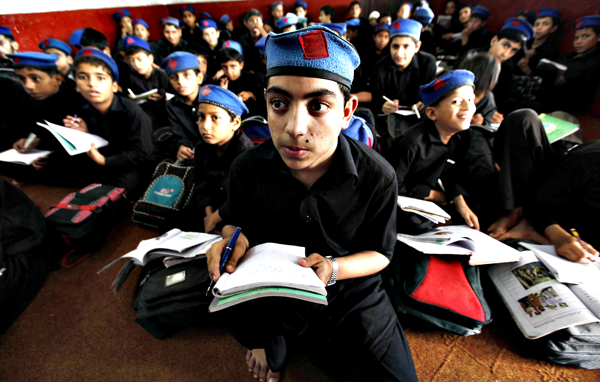 Pakistani boys attend school on the International Student Day in Peshawar, Pakistan, 17 November 2014.  International student Day is marked annually on 17 November.