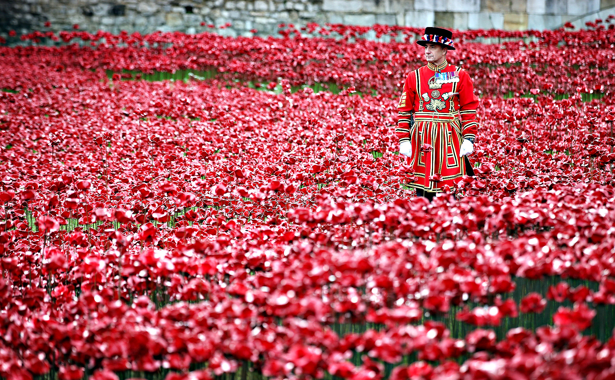 A Yeomen Warder awaits the placing of the last ceramic poppy in the moat of Tower of London to mark Armistice Day, on November 11, 2014 in London, England. The installation 'Blood Swept Lands and Seas of Red' by artists Paul Cummins and Tom Piper consists of 888,246 ceramic poppies - representing each of the commonwealth servicemen and women killed in the first world war.