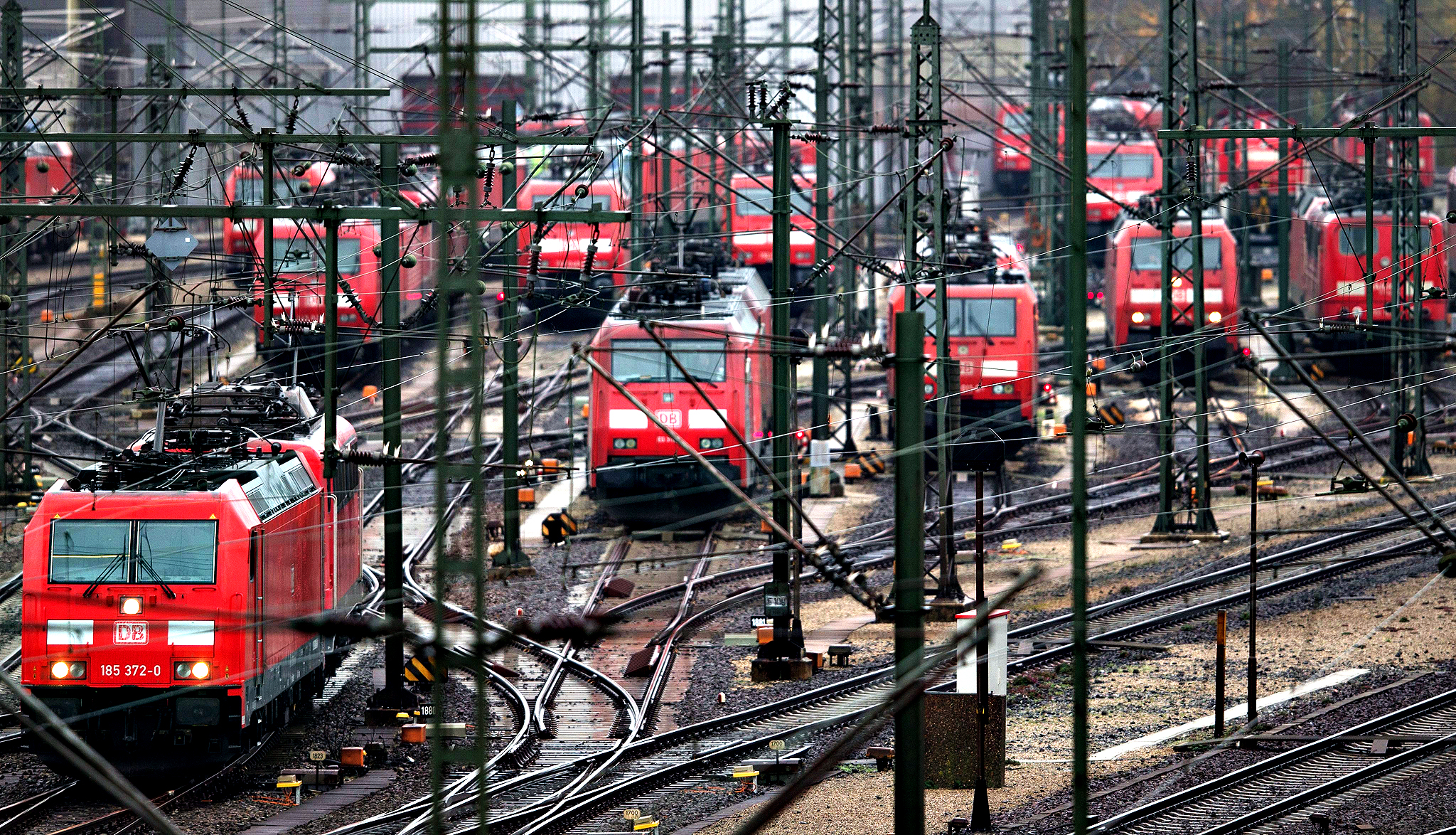 Train engines stand idle at a railway marshalling yard in Seevetal, Germany on Wednesday. Germany's train drivers' union 'Gewerkschaft Deutscher Lokomotivfuehrer (GDL)', has announced to go forward with the longest strike in the 20-year history of the Deutsche Bahn. The strike announcement on 04 November triggered condemnation from both business and political leaders. Strike actions are planned to last from Wednesday 05 November to Monday 10 November 2014.