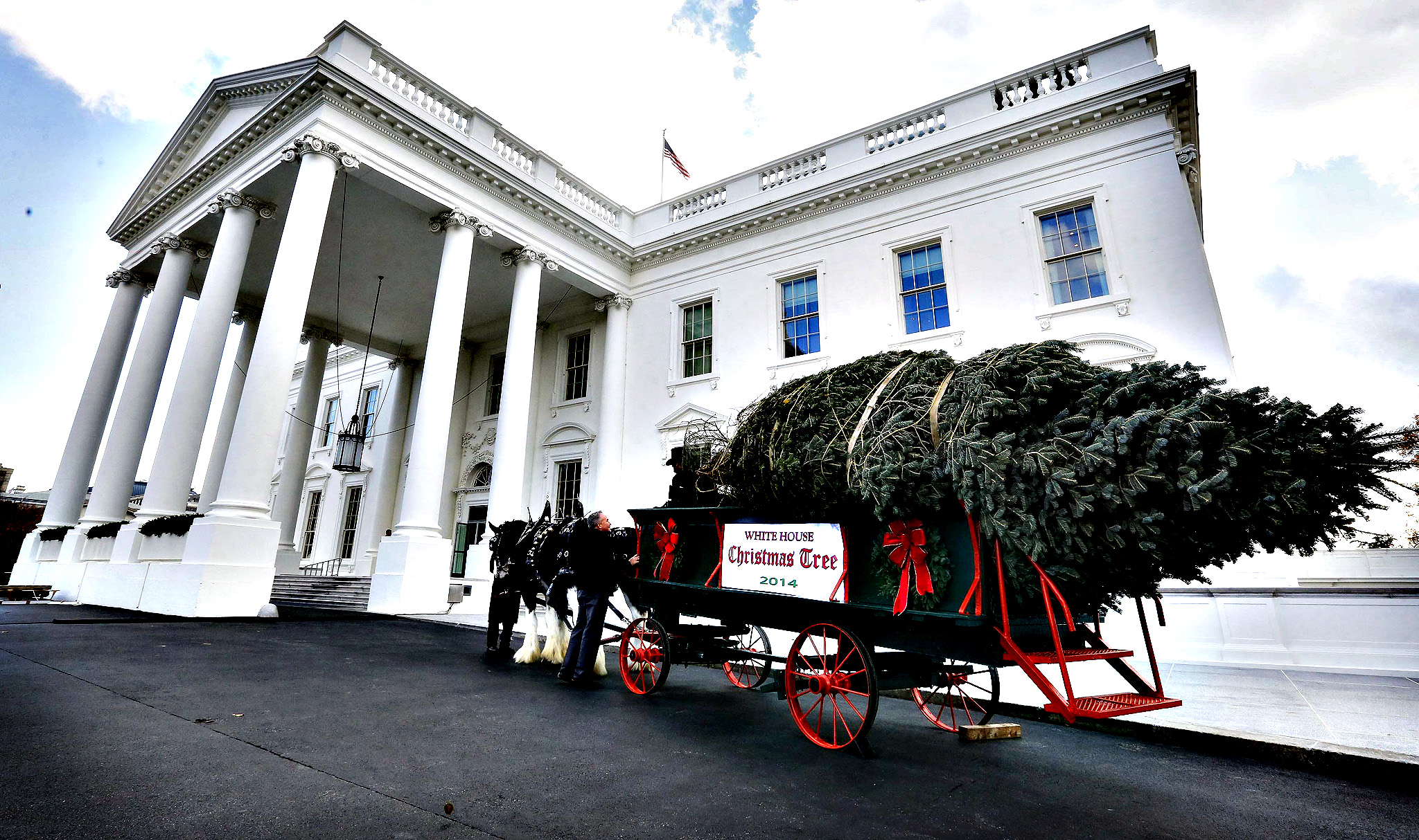 The official White House Christmas tree, from the Crystal Spring Tree Farm in Pennsylvania, sits next to the North Portico of the White House in Washington...The official White House Christmas tree, from the Crystal Spring Tree Farm in Pennsylvania, sits next to the North Portico of the White House in Washington, November 28, 2014.