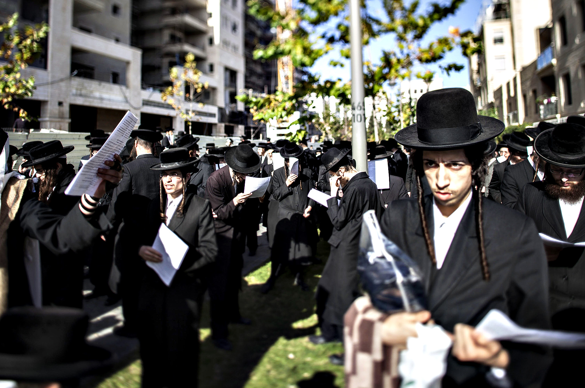 Israeli Orthodox jews seen protesting on December 10, 2014 in Jerusalem, Israel. Orthodox jews are protesting the building of a new neighbourhood in Jerusalem, because of fears it will destroy an ancient Jewish tomb at the site.