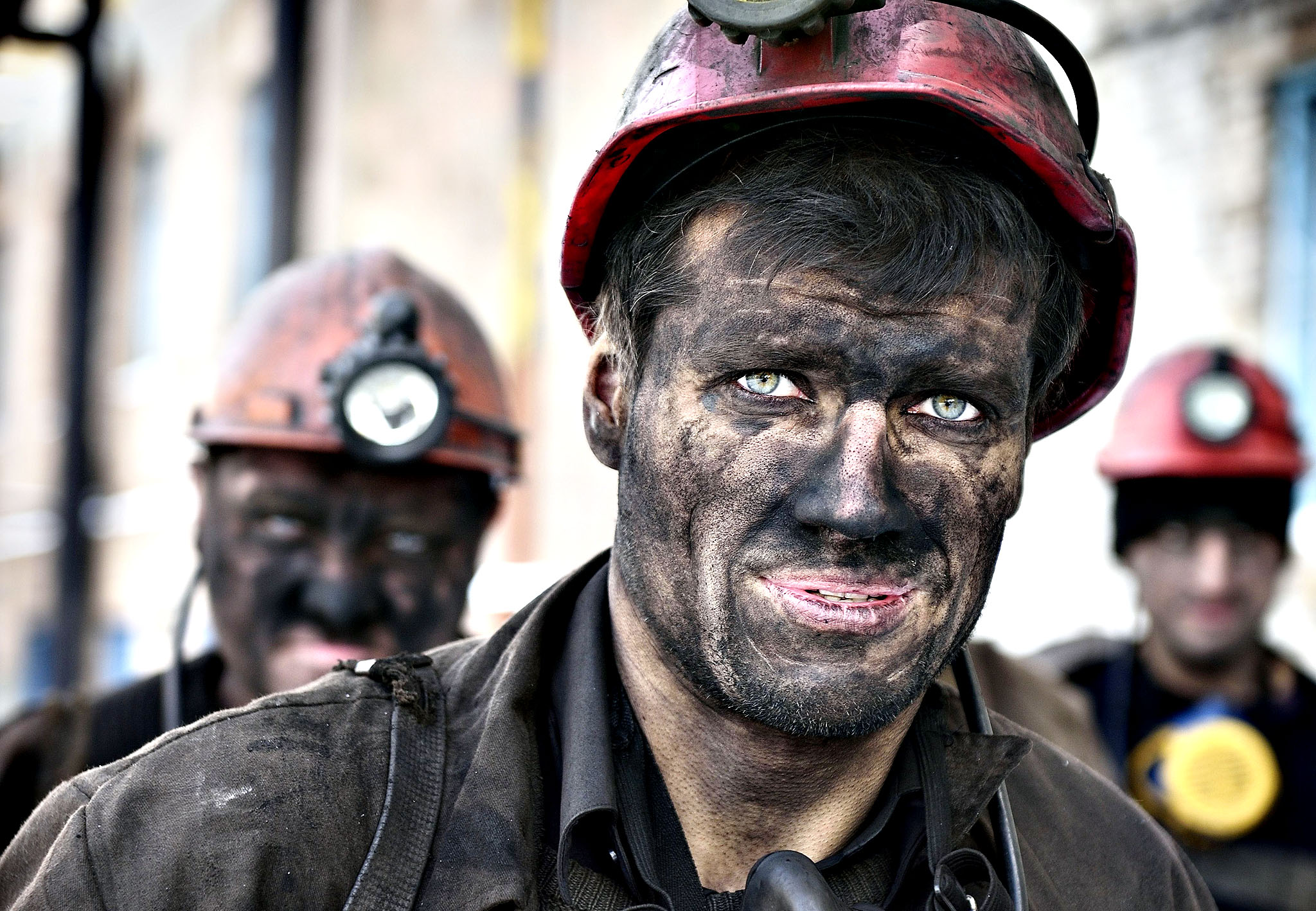 "Miners return from their shift at the Kalinina coal mine in the eastern Ukrainian city of Donetsk, controlled by pro-Russian rebels on December 1, 2014. Official statistics shows the country needs a million tonnes of anthracite coal per month to feed its power stations. By November 24, only 1.8 million tonnes were left in the reserves. Russia announced it was stopping coal supplies to Ukraine last week, claiming ""force majeure"" but offering no explanation."