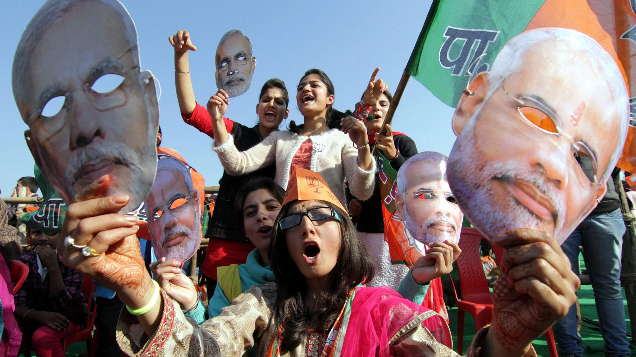 Indian Prime Minister Narendra Modi campaign rally