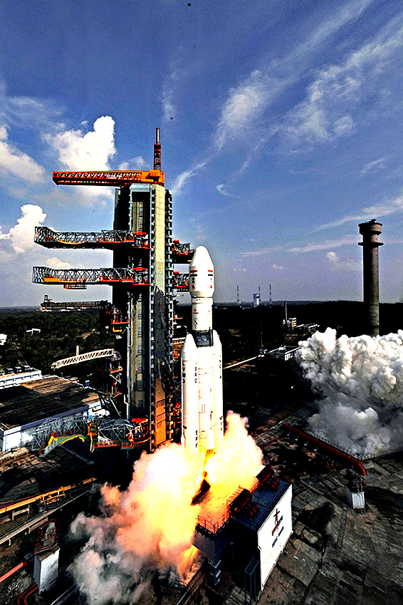 The Geosynchronous Satellite Launch Vehicle (GSLV Mark-III) lifts off at Indian space Research Organisation's (ISRO) center in Srharikota, Andhara Pradesh, India. India successfully tested its heaviest next generation rocket and the crew module on board a 630-ton rocket from the southern island of Sriharikota, before detaching successfully at an altitude of 126 kilometres, and landing by parachute in the Bay of Bengal, the Indian Space Research Organisation said 18 December 2014.