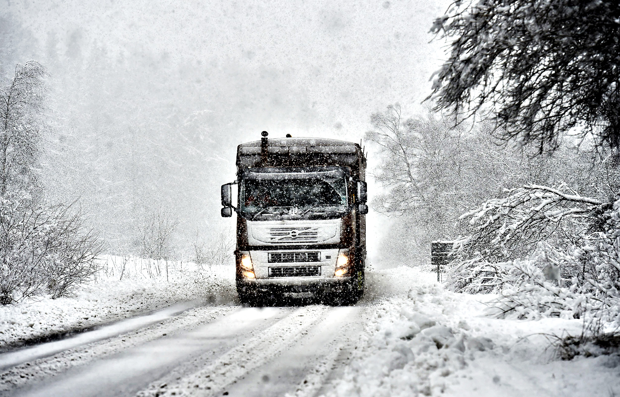 Blizzards sweep through Kielder in Northumberland, as snow covers the area