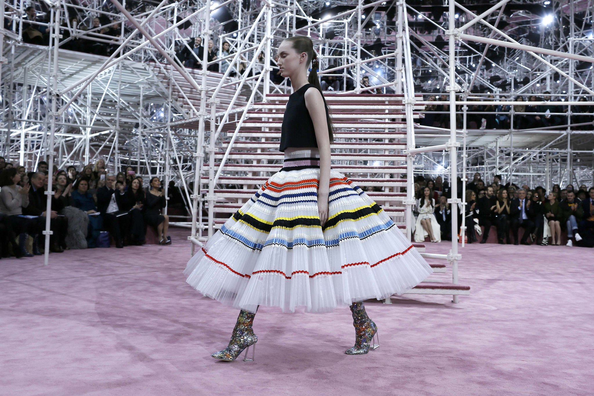 A model presents a creation by Belgian designer Raf Simons as part of his Haute Couture Spring Summer 2015 fashion show for French fashion house Christian Dior in Paris...A model presents a creation by Belgian designer Raf Simons as part of his Haute Couture Spring Summer 2015 fashion show for French fashion house Christian Dior in Paris January 26, 2015.    REUTERS/Gonzalo Fuentes (FRANCE  - Tags: FASHION)