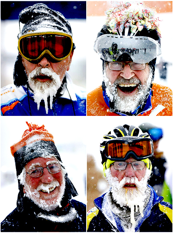 .A combination of pictures shows the beards of skaters, out of some 1,100 athletes, covered with ice and snow during the 200 km (124 miles) speed skating race in the Carinthian village of Techendorf on Friday