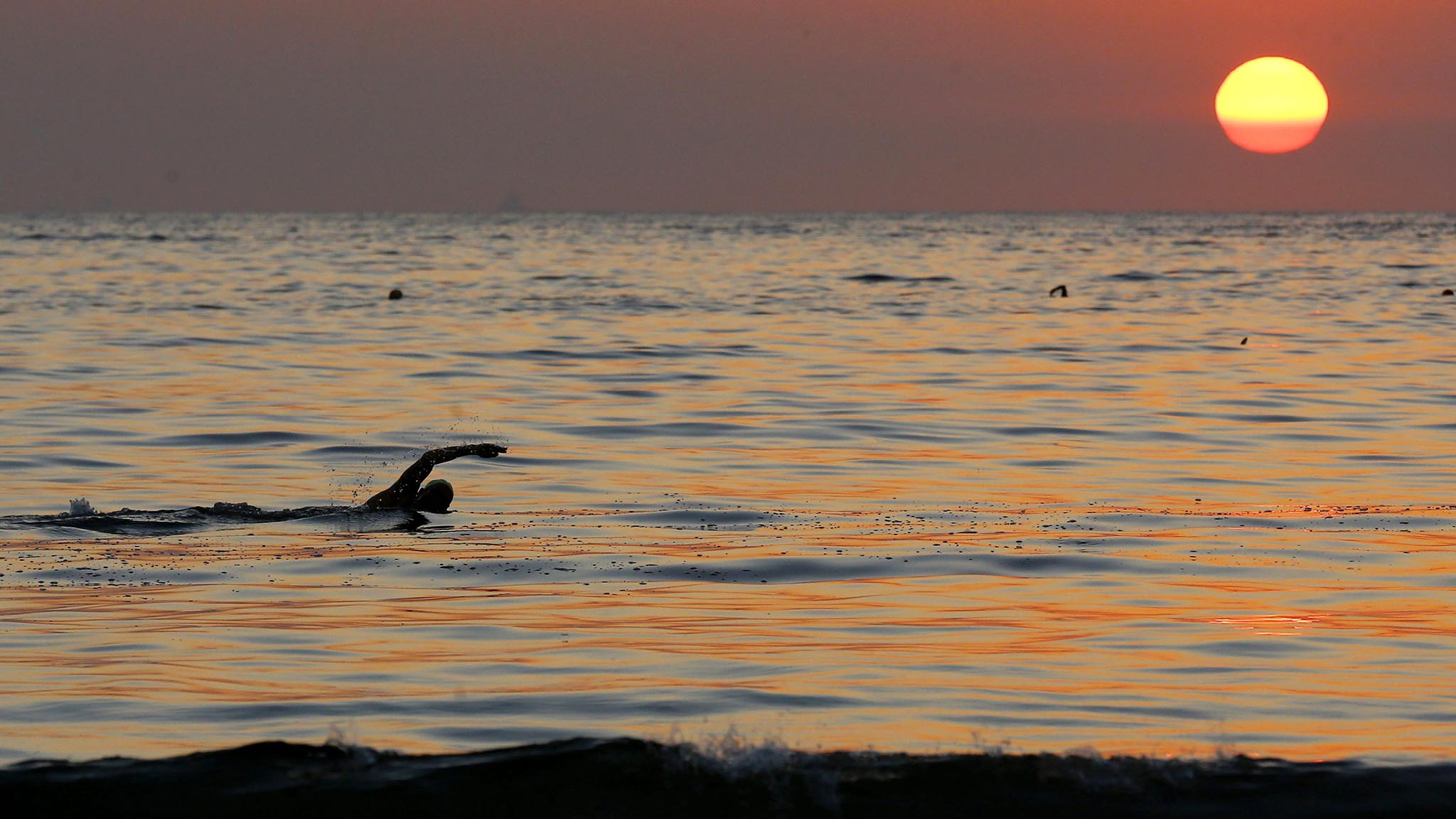 A swimmer practices in the waters of Copacabana beach as the sun rises in Rio de Janeiro
