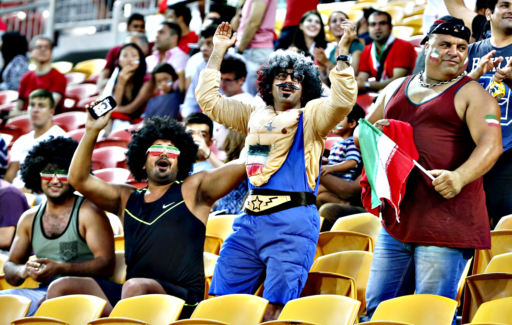 Iran fans cheer before the start of their Asian Cup Group C soccer match against UAE at the Brisbane Stadium in Brisbane January 19, 2015.