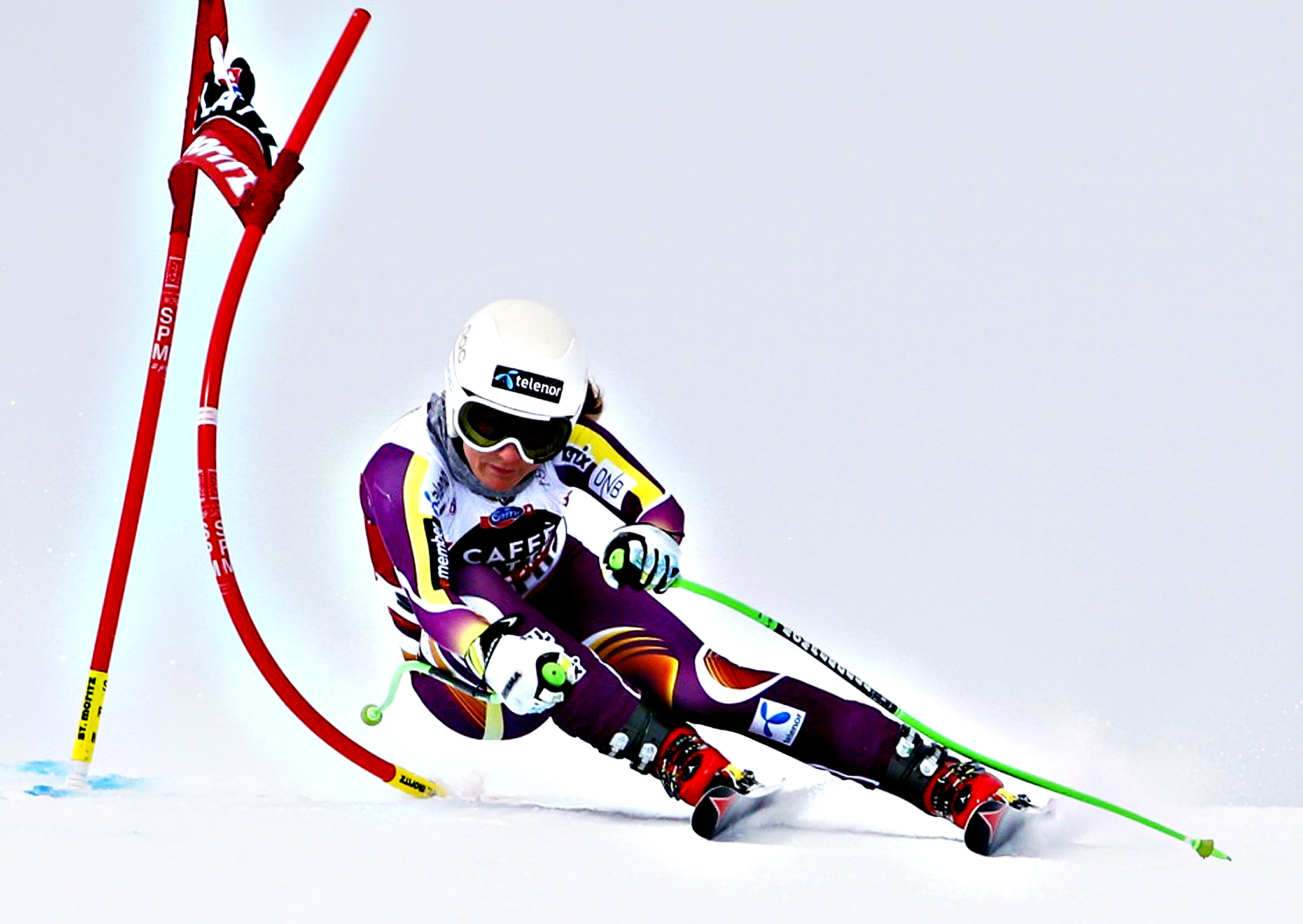 Lotte Smiseth Sejersted of Norway  clears a gate during the final training run for the women's Alpine Skiing World Cup downhill race in St Moritz January 23, 2015.