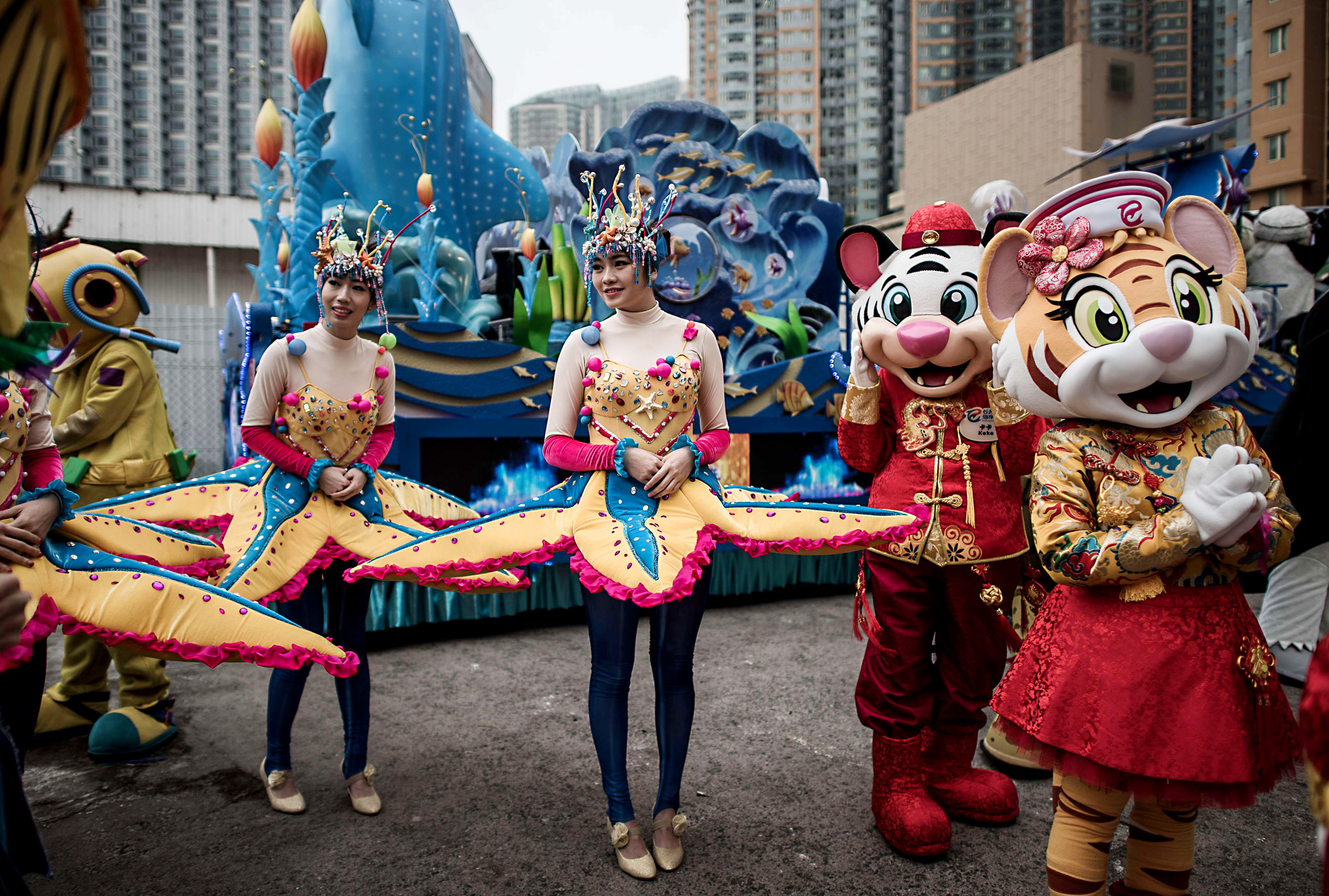 "Performers gather during preparations fo...Performers gather during preparations for Chinese lunar new year celebrations in Hong Kong on February 17, 2015. The Chinese lunar new ""year of the sheep"" begins on February 19.   AFP PHOTO / Philippe LopezPHILIPPE LOPEZ/AFP/Getty Images"