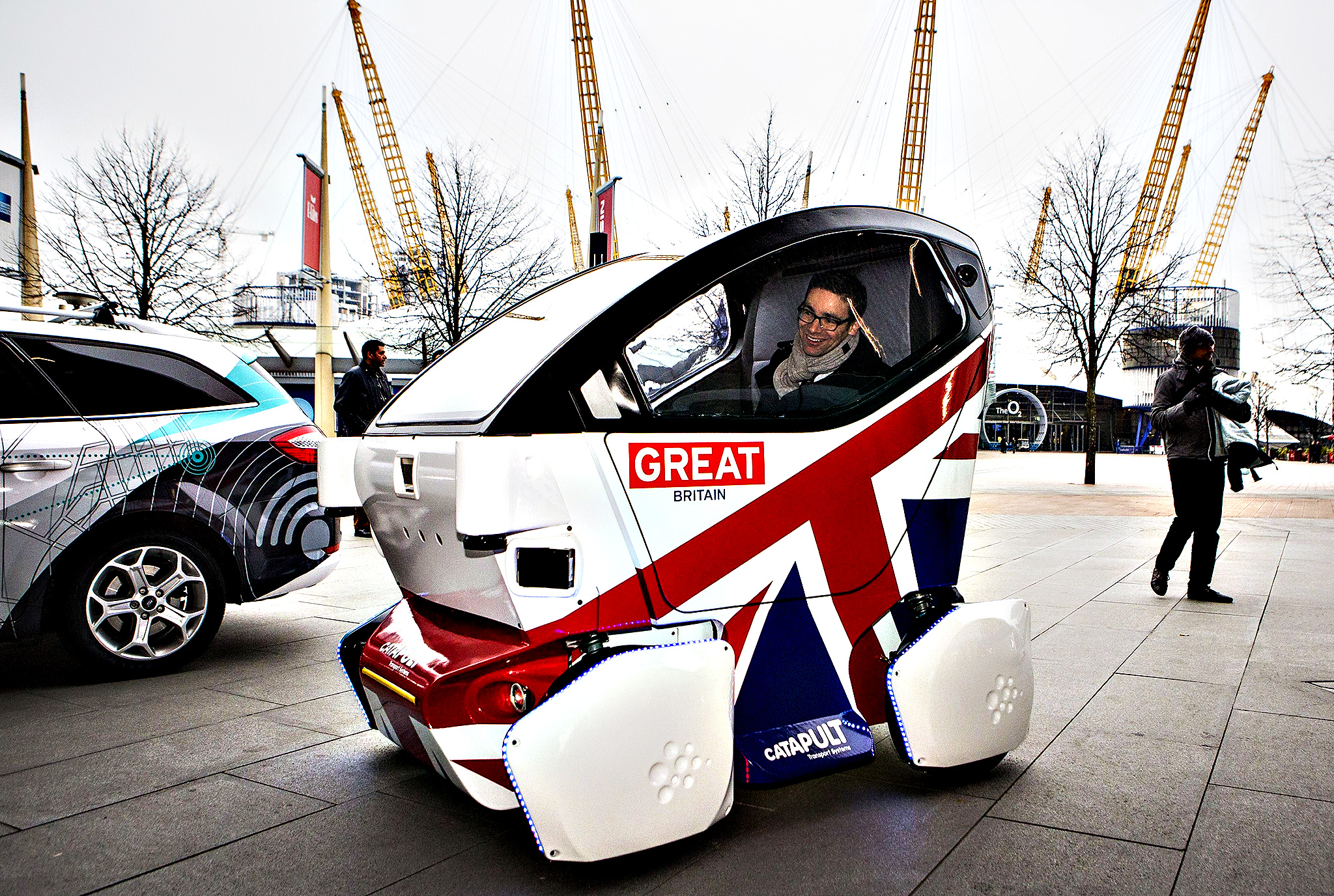 A driverless vehicle known as a Lutz 'Pathfinder' Pod is pictured during a photocall in central London on February 11, 2015. The British government launched the first official trials of driverless cars Wednesday, but said it could be some years before driverless cars are a feature on the roads