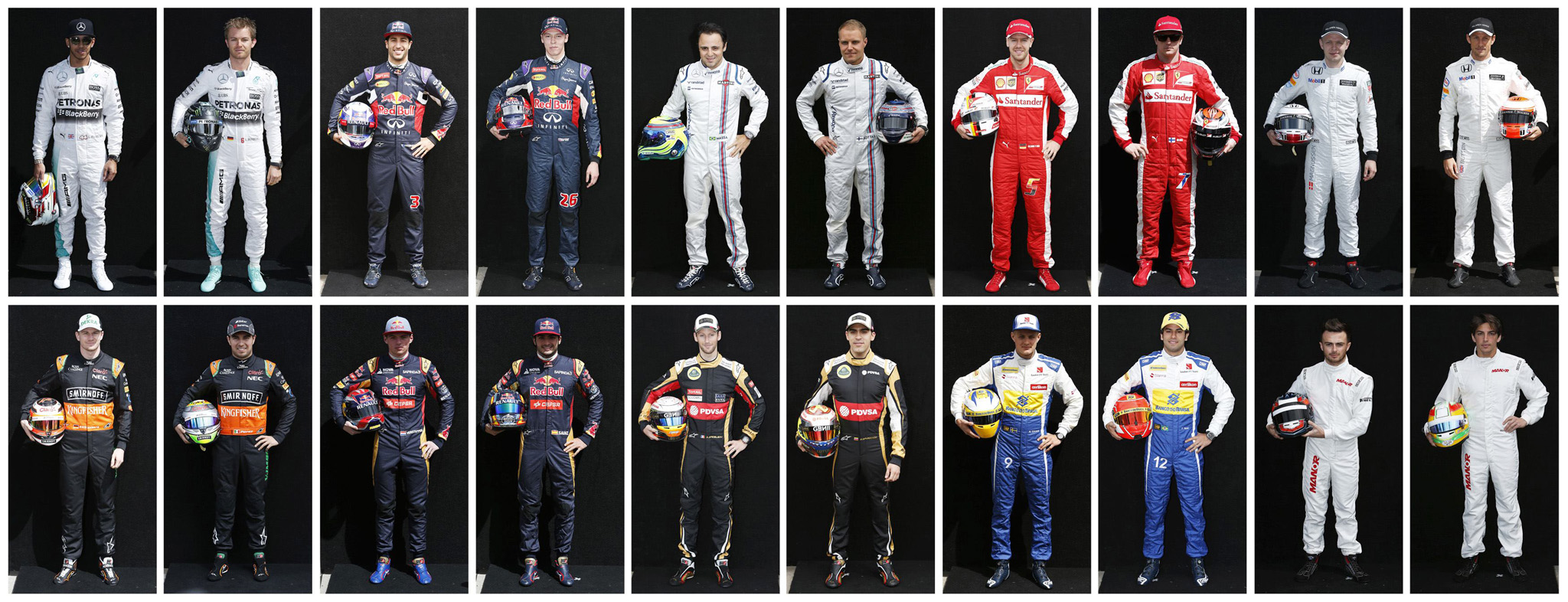 Formula One drivers for the 2015 season are pictured in this combination photo at Melbourne's Albert Park Track...Formula One drivers for the 2015 season are pictured in this combination photo at Melbourne's Albert Park Track, March 12, 2015.   (Top Row, L to R) Mercedes driver Lewis Hamilton of Britain, Mercedes driver Nico Rosberg of Germany, Red Bull driver Daniel Ricciardo of Australia, Red Bull driver Daniil Kvyat of Russia, Williams driver Felipe Massa of Brazil, Williams driver Valtteri Bottas of Finland, Ferrari driver Sebastian Vettel of Germany, Ferrari driver Kimi Raikkonen of Finland, McLaren driver Kevin Magnussen of Denmark and McLaren driver Jenson Button of Britain. (Bottom Row, L to R) Force India driver Nico Hulkenberg of Germany, Force India driver Sergio Perez of Mexico, Toro Rosso driver Max Verstappen of the Netherlands, Toro Rosso driver Carlos Sainz Jr of Spain, Lotus driver Romain Grosjean of France, Lotus driver Pastor Maldonado of Venezuela, Sauber driver Marcus Ericsson of Sweden, Sauber driver Felipe Nasr of Brazil, Marussia driver Will Stevens of Britain and Marussia driver Roberto Merhi of Spain.   REUTERS/Brandon Malone (AUSTRALIA  - Tags: SPORT MOTORSPORT F1)