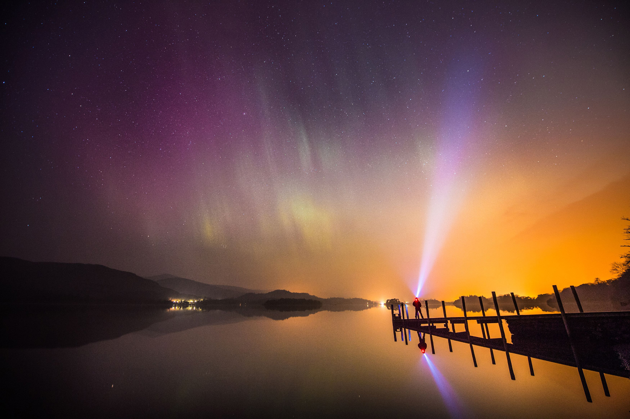 Northern lights show...The aurora borealis, or the northern lights as they are commonly known, over Derwent water near Keswick in the Lake District. PRESS ASSOCIATION Photo. Picture date: Wednesday March 18, 2015. See PA story ENVIRONMENT Aurora. Photo credit should read: Owen Humphreys/PA Wire