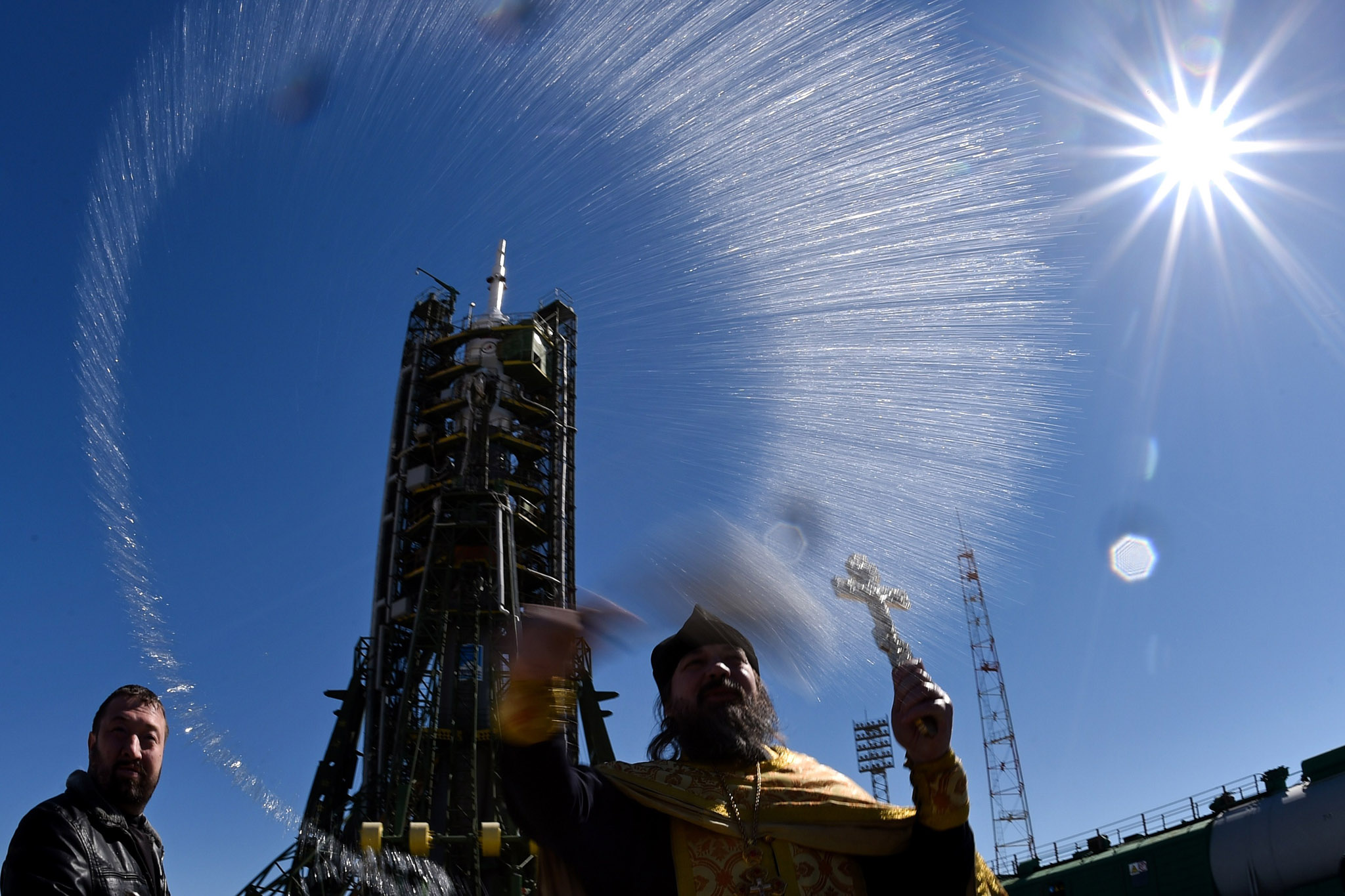 A Russian Orthodox priest blesses the So...A Russian Orthodox priest blesses the Soyuz TMA-16M spacecraft at the launch pad of the Russian-leased Baikonur cosmodrome on March 26, 2015. Russia's Soyuz TMA-16M spacecraft carrying the International Space Station (ISS) crew of US astronaut Scott Kelly and Russian cosmonauts Gennady Padalka and Mikhail Kornienko is scheduled to blast off to the ISS from Baikonur early on March 28, Kazakh time. AFP PHOTO / KIRILL KUDRYAVTSEVKIRILL KUDRYAVTSEV/AFP/Getty Images
