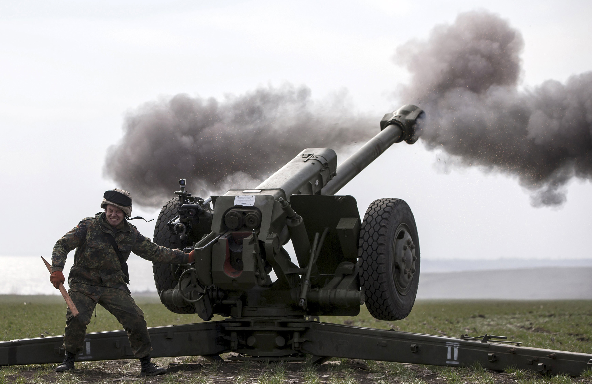 Ukraine's voluntary militia, called the Azov Battalion, undergoes artillery training.