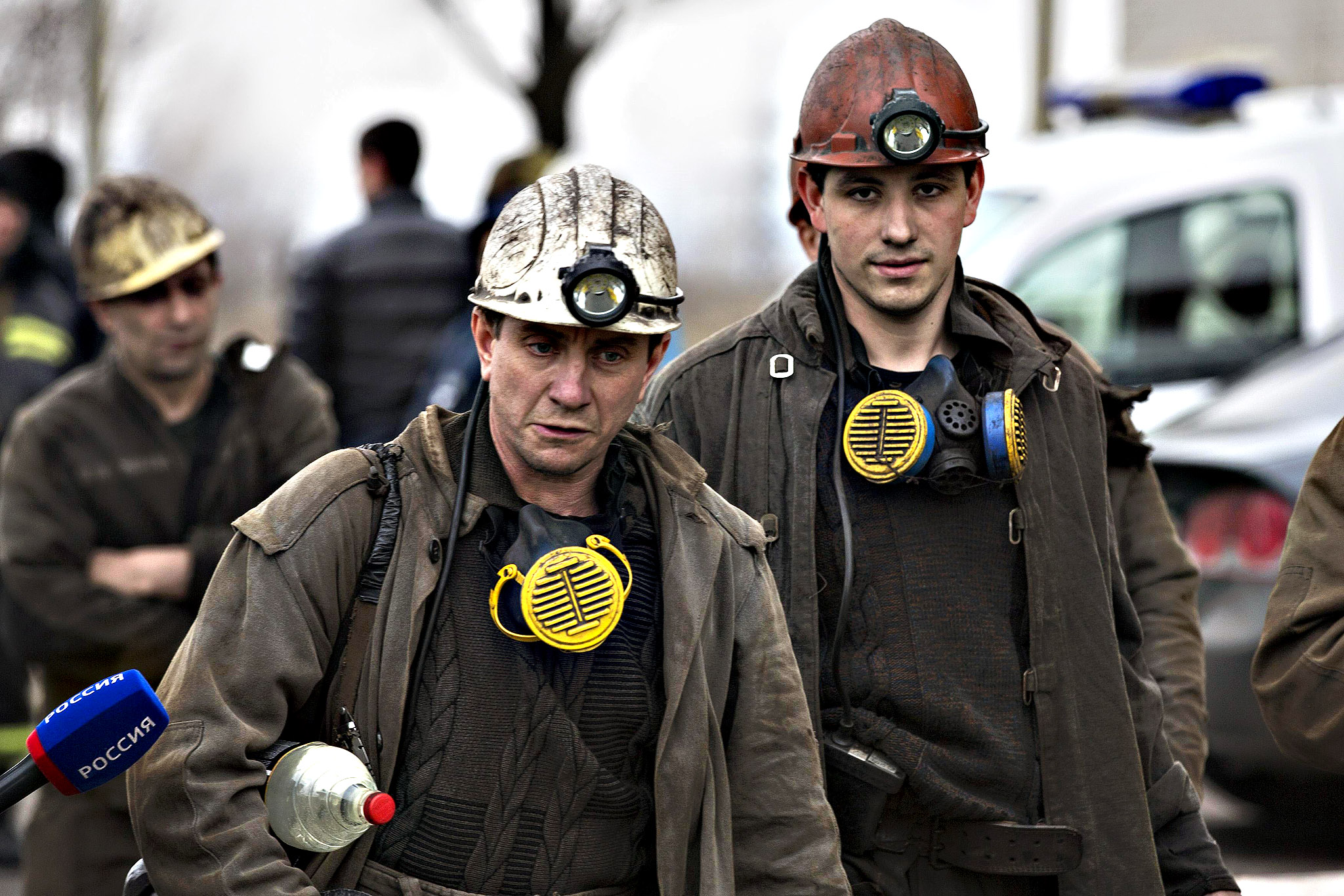 Miners arrive to help with the rescue effort in Zasyadko coal mine in Donetsk...Miners arrive to help with the rescue effort in Zasyadko coal mine in Donetsk March 4, 2015. A blast at the coal mine in the eastern Ukrainian rebel stronghold of Donetsk killed more than 30 people, a local official said on Wednesday, with dozens more miners who were underground at the time unaccounted for.
