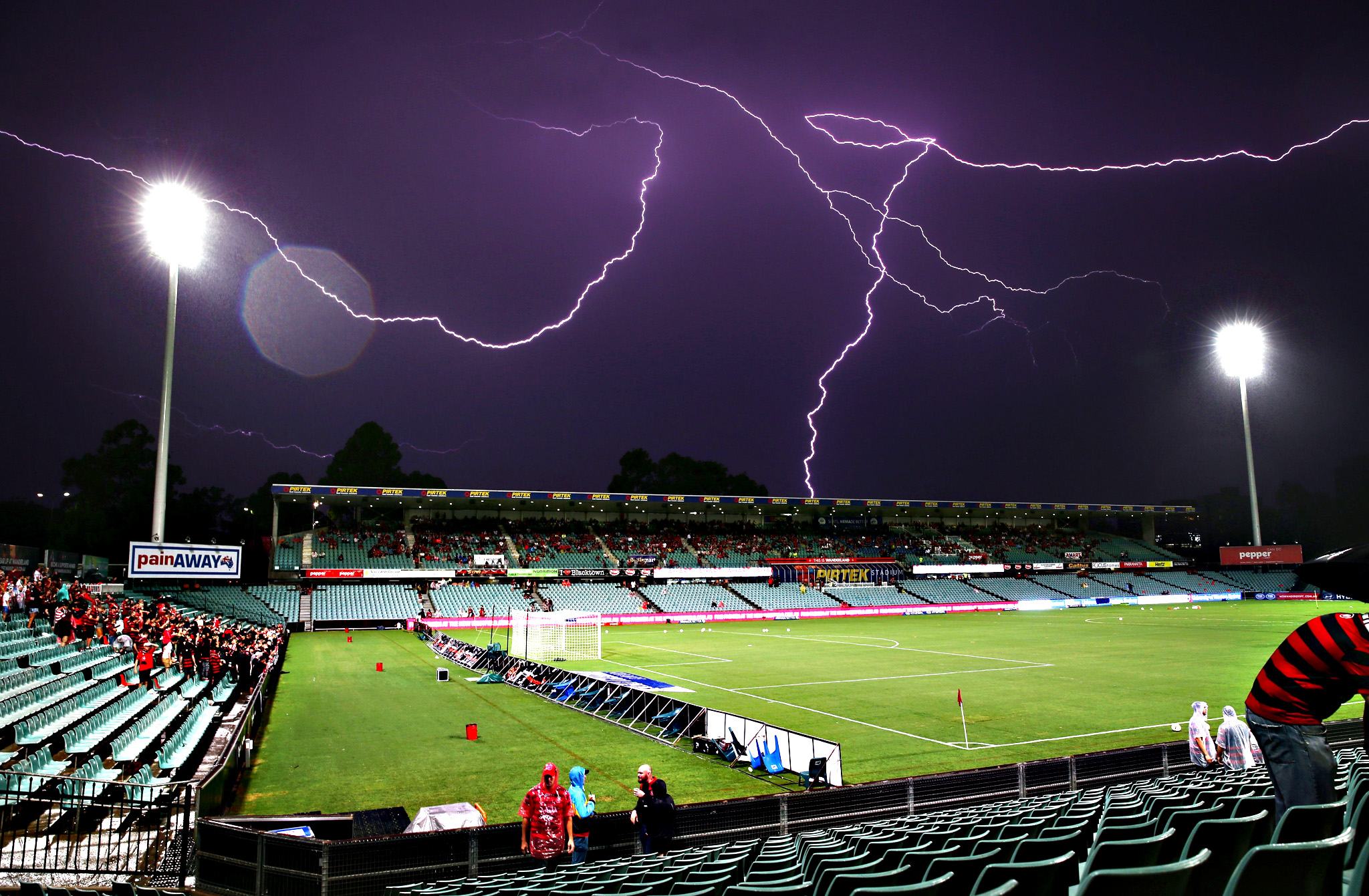 Lightning strikes delay the start of play before the round 21 A-League match between the Western Sydney Wanderers and Melbourne City FC at Pirtek Stadium on Wednesday in Sydney, Australia
