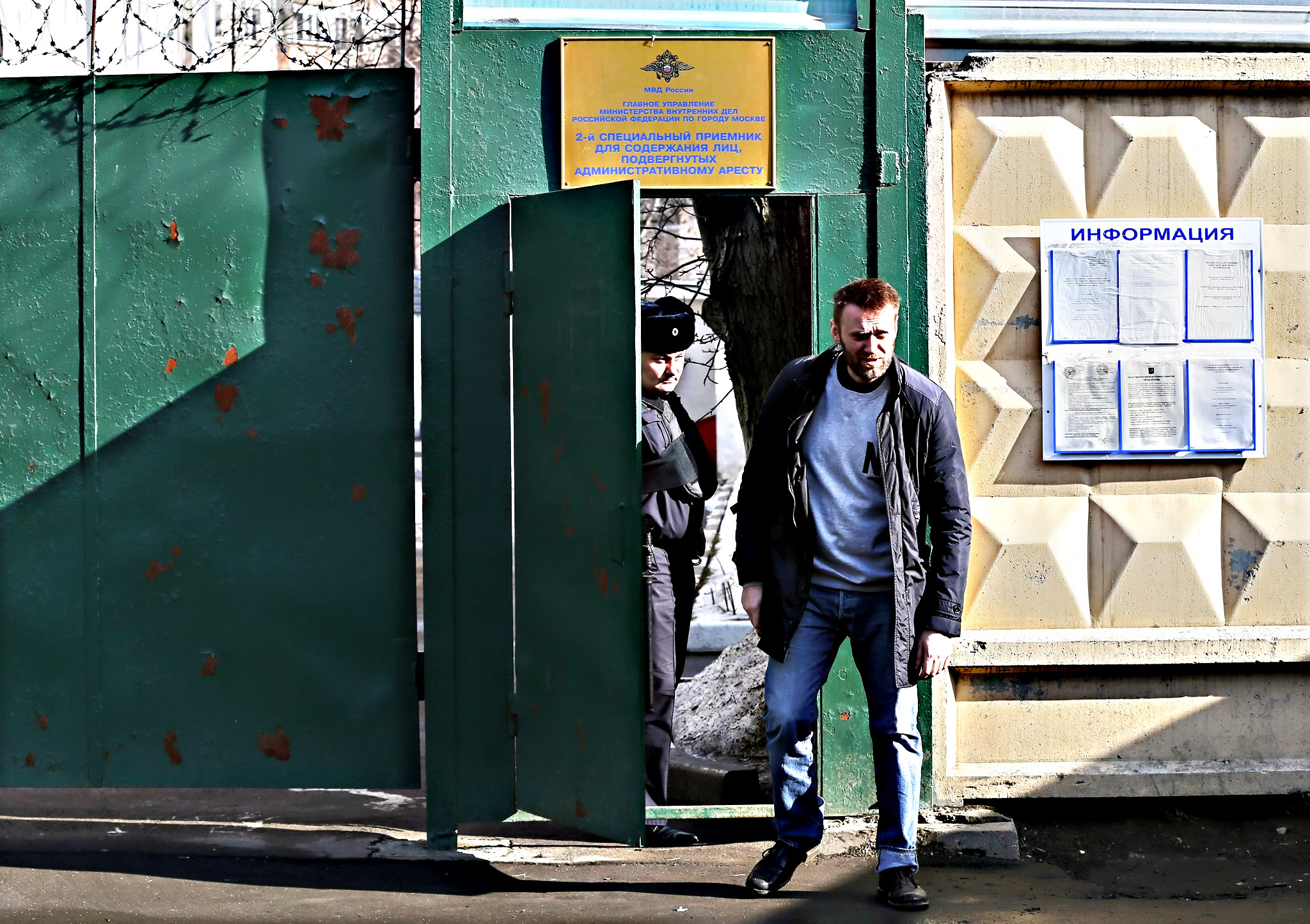 Russian opposition leader Alexei Navalny walks out of a detention center in Moscow, Russia, 06 March 2015. Navalny was released after spending 15 days in custody for handing out leaflets in the subway.
